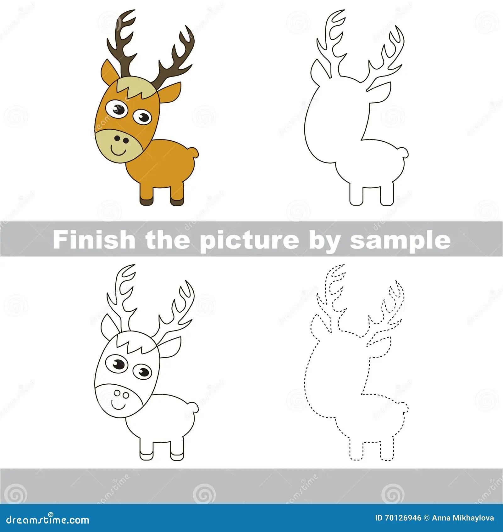 Deer Drawing Worksheet Stock Vector Illustration Of