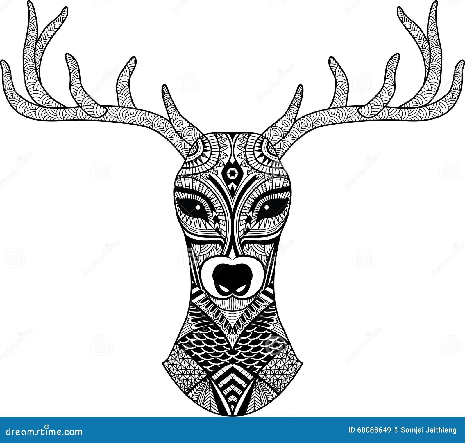 Deer Head Stylized In Zentangle Style Tribal Tattoo