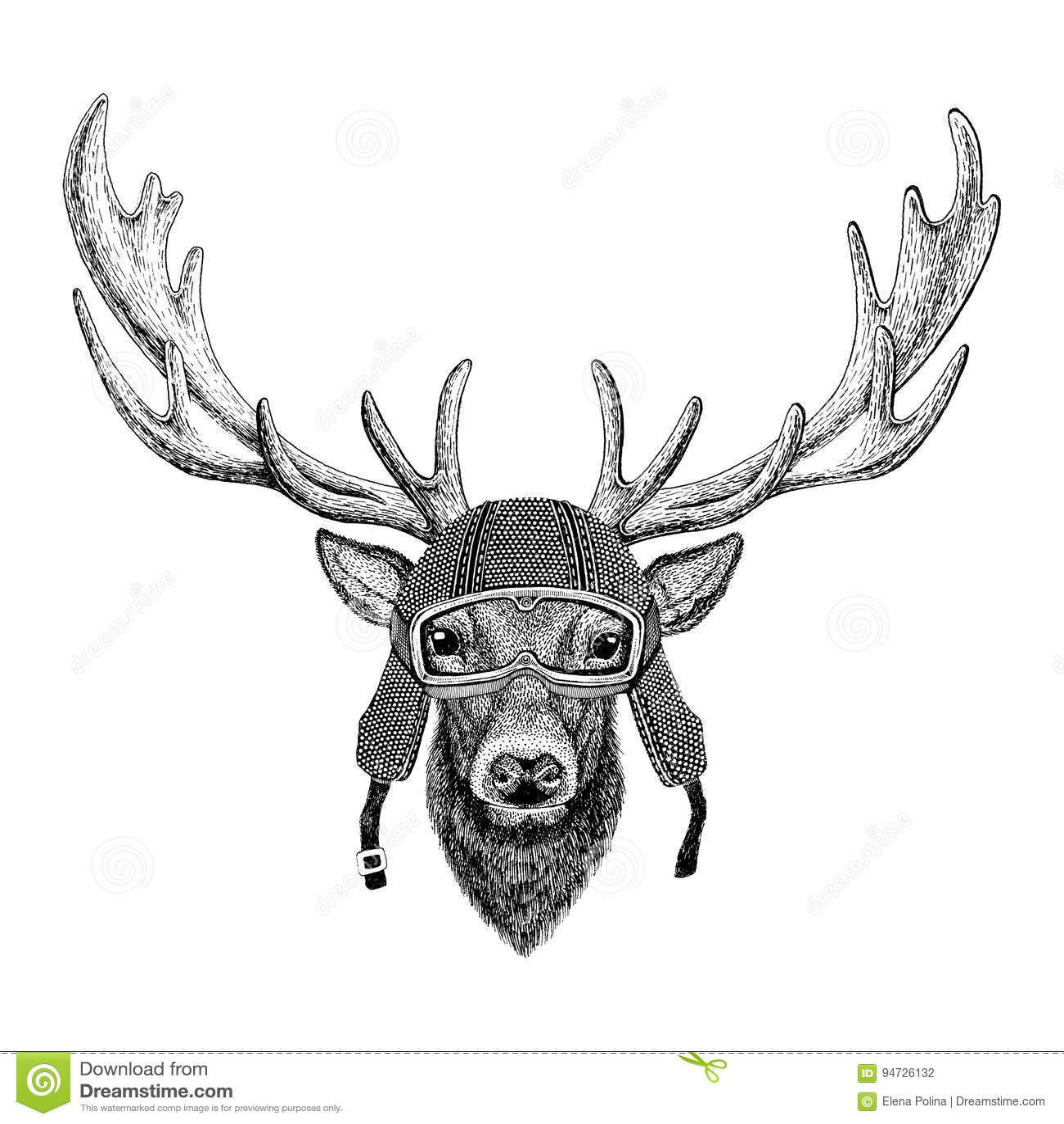 Deer Wearing Vintage Motorcycle Helmet Tattoo Badge