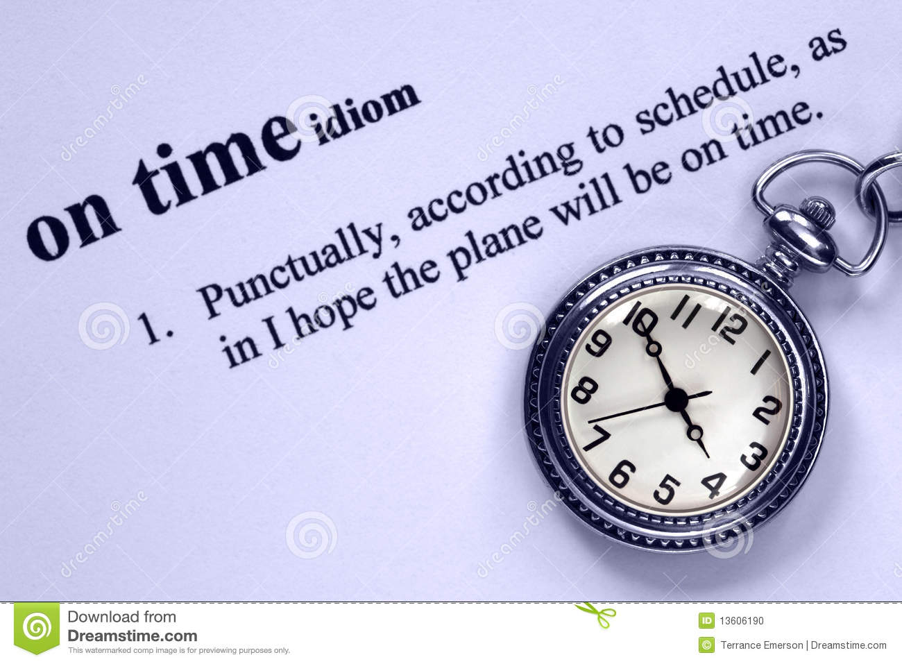 Definition Of Being On Time And Pockiet Watch Stock Photo