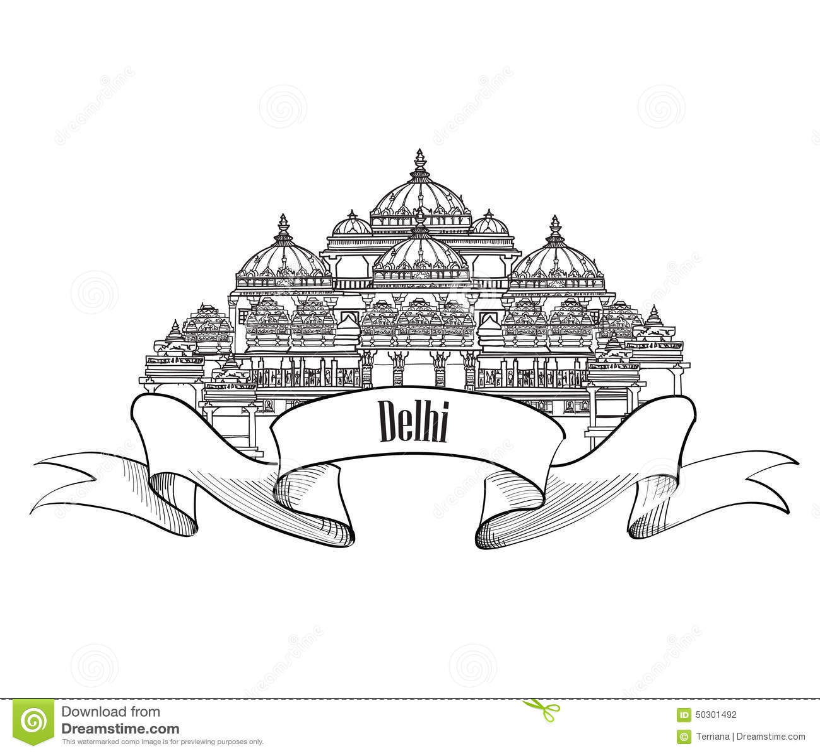 Delhi Travel Label Indian Landmark Symbol Akshardham