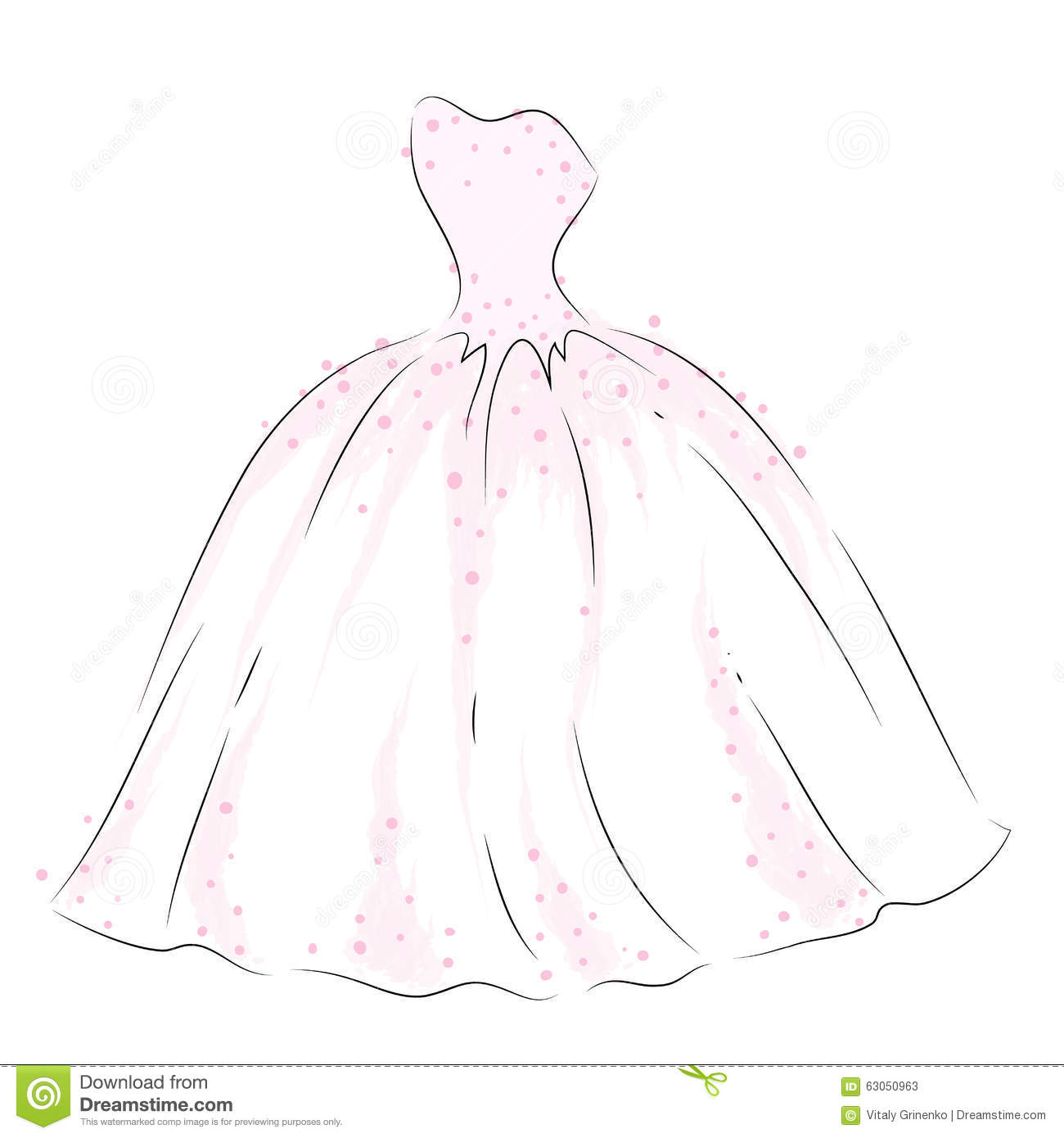 Delicate Dress In The Vector Wedding Dress Drawn By Hand
