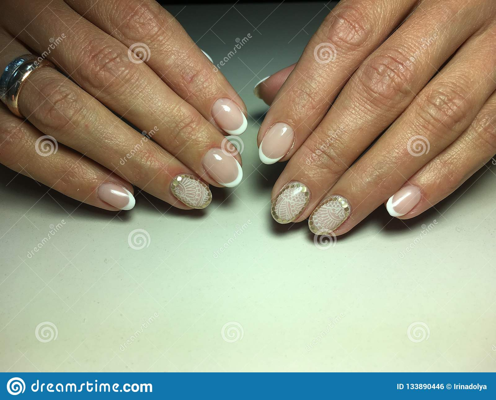 Delicate French Manicure Stock Photo Image Of Bride 133890446