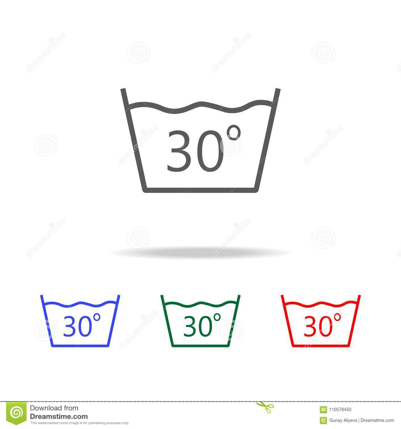 Delicate Gentle 30 Degrees Washing Laundry Symbol Line