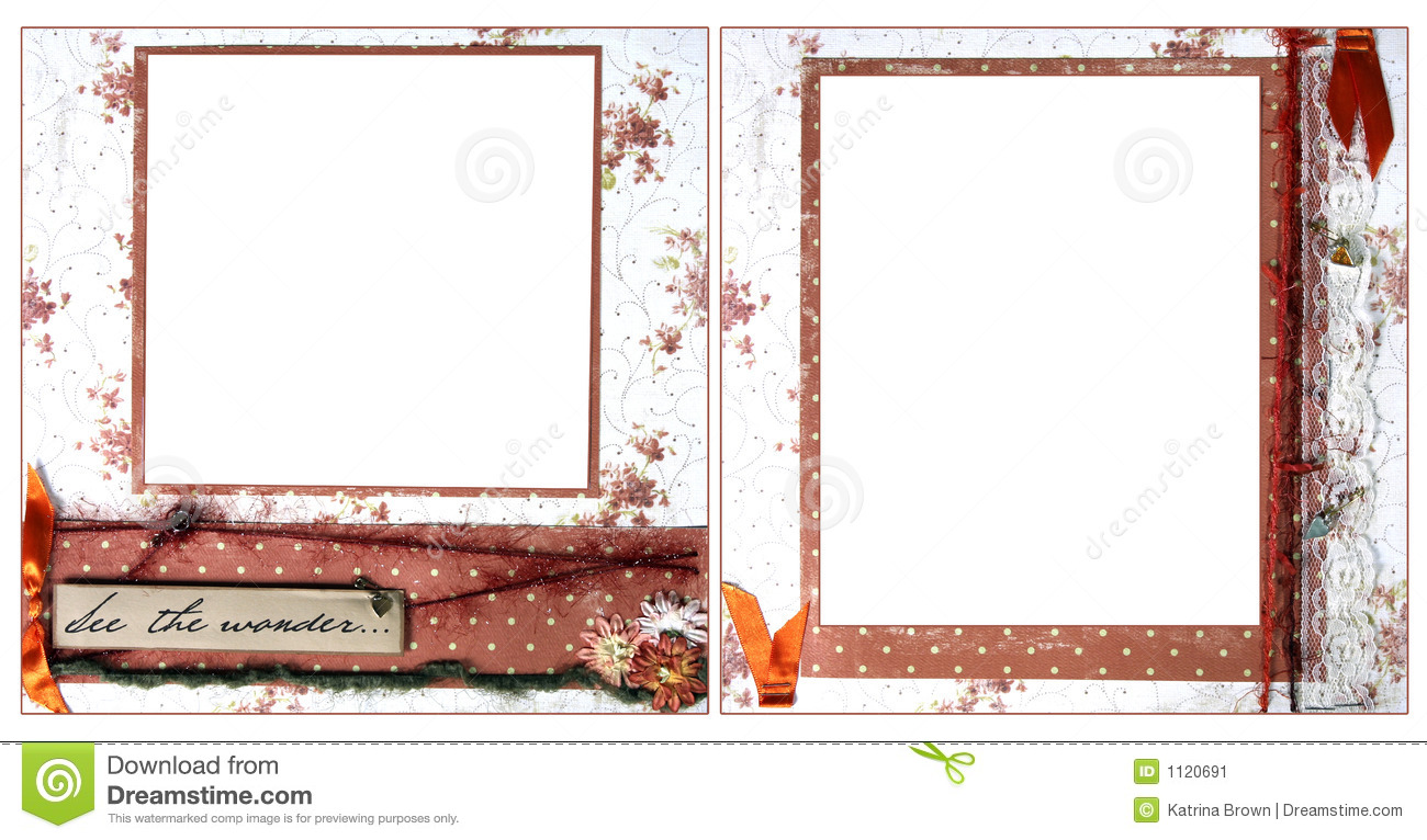 Delicate Orange Scrapbook Frame Template Stock