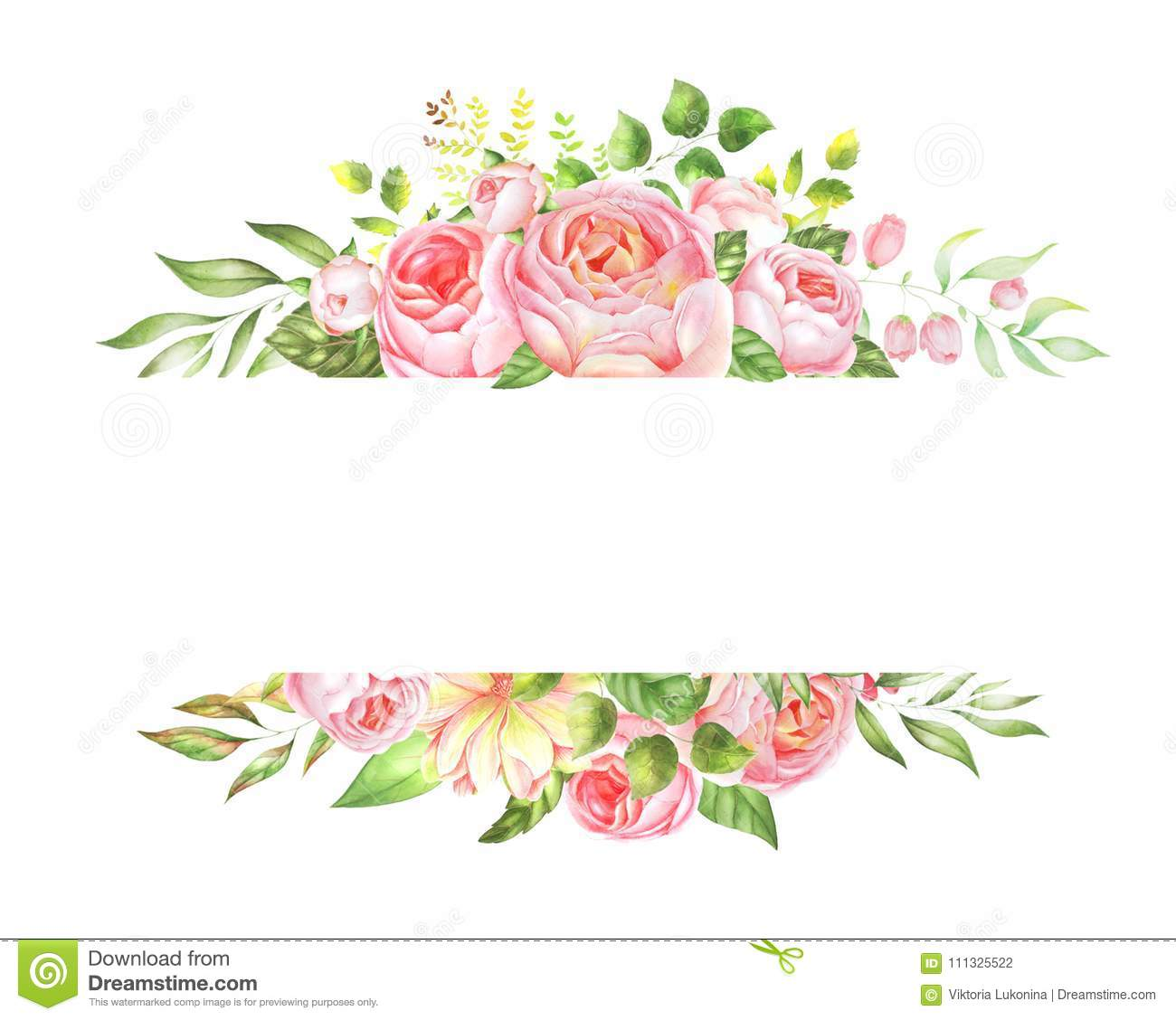Delicate Watercolor Frame Of Roses Stock Illustration