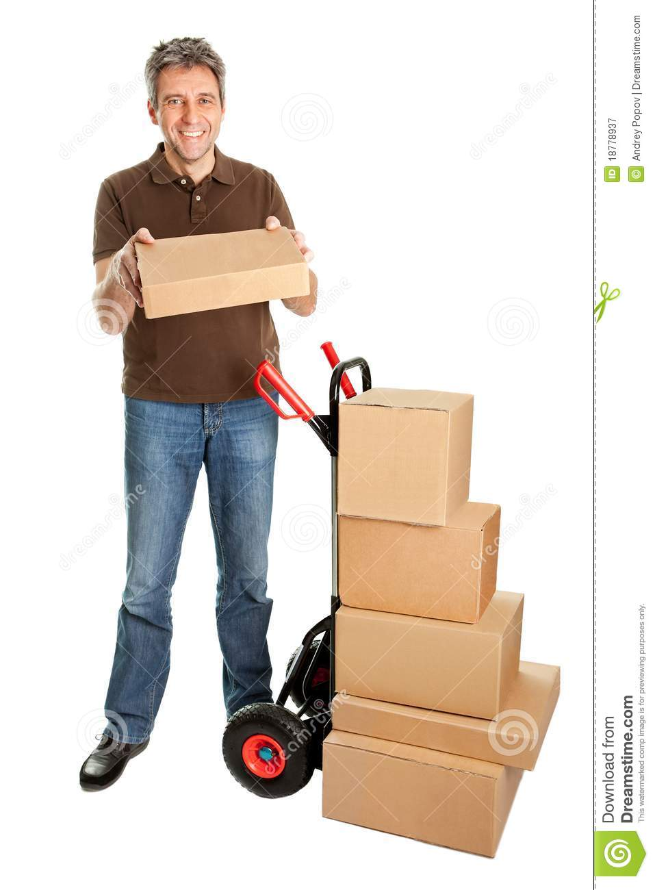 Delivery Man Holding The Package Royalty Free Stock