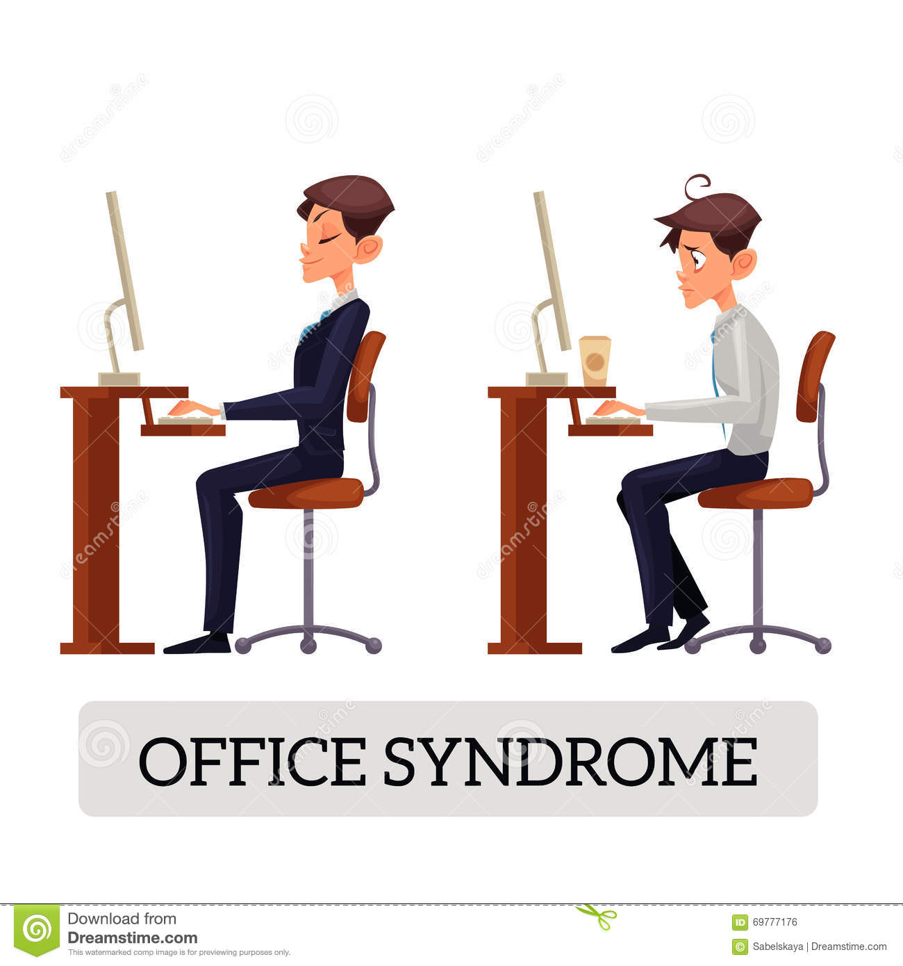 Demonstration Of Correct And Incorrect Sitting On A Chair