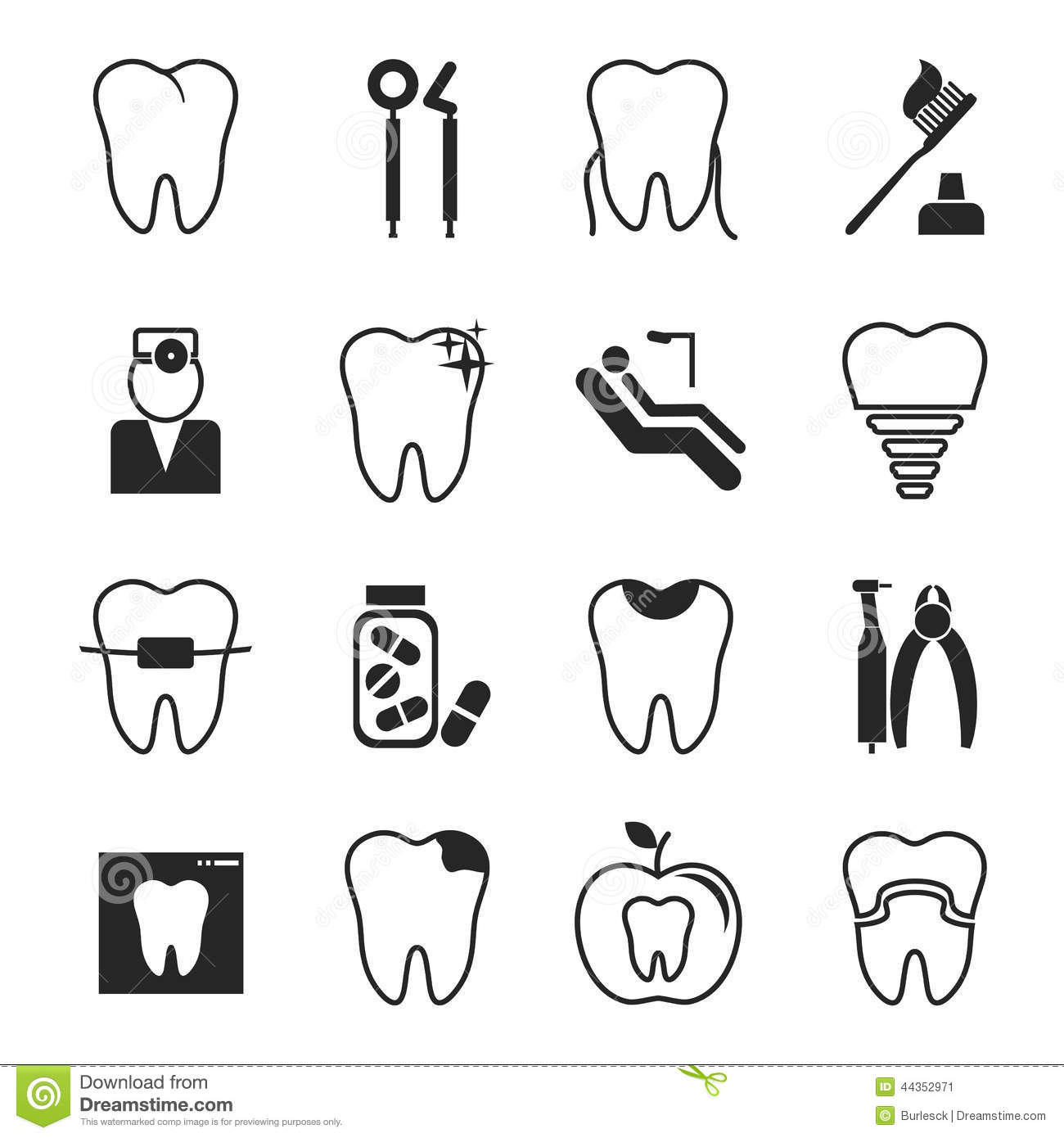 Dental Icons Set Royalty Free Stock Photography