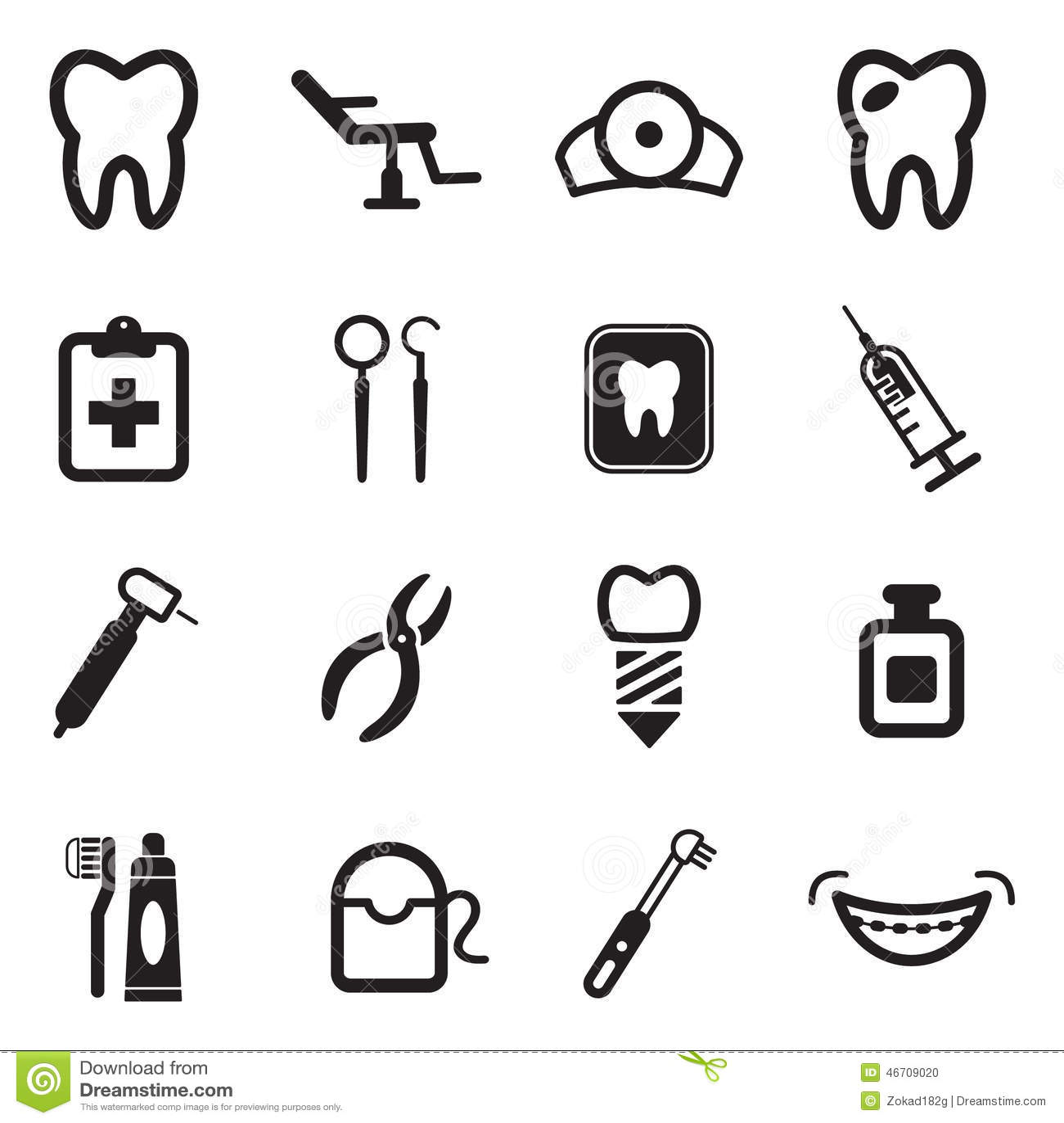 Dentist Icons Stock Vector Illustration Of Hygiene Fear