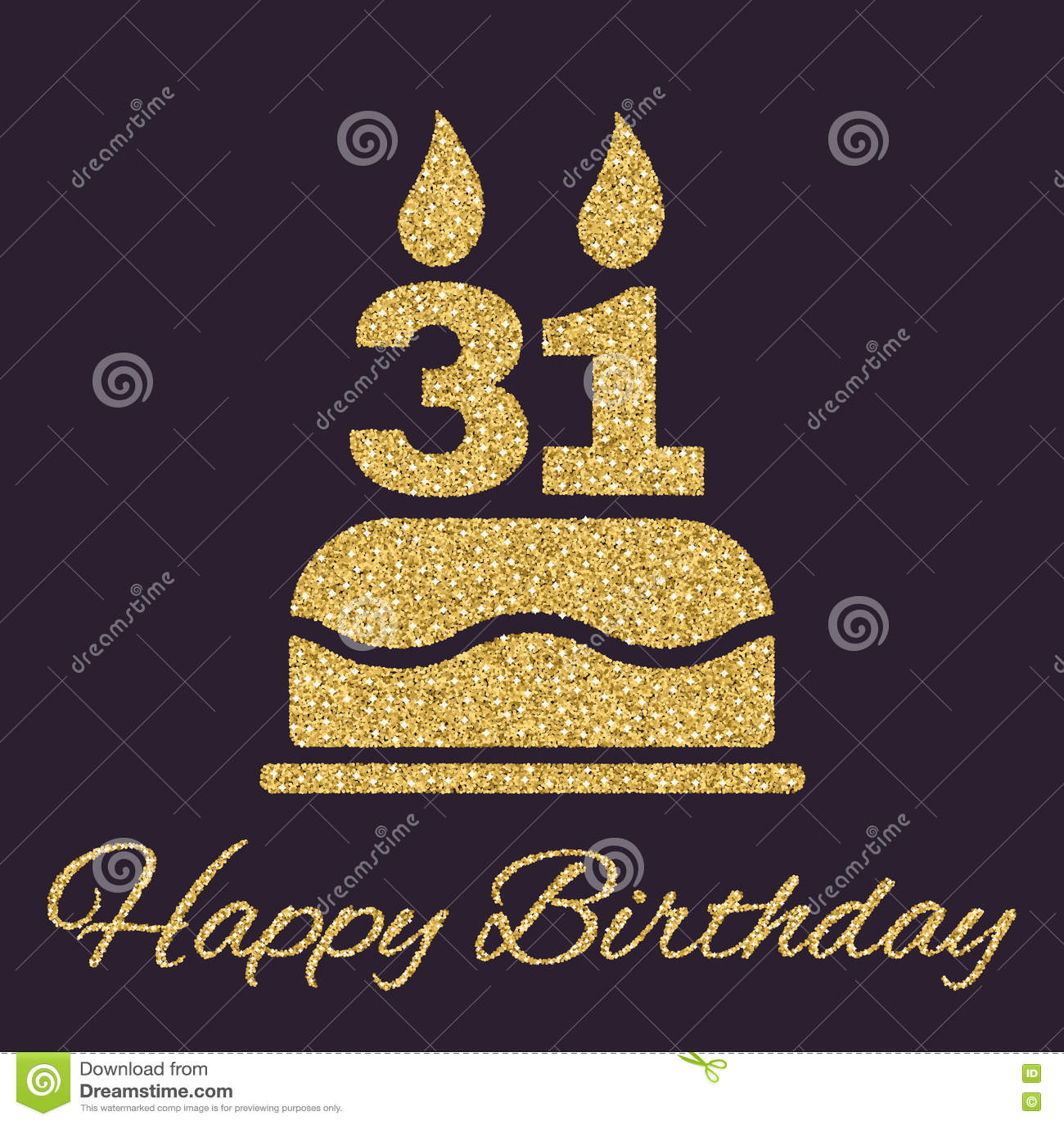 31 Geburtstag Kuchen Mit Kerzen Brennen Auf Der Rustikalen