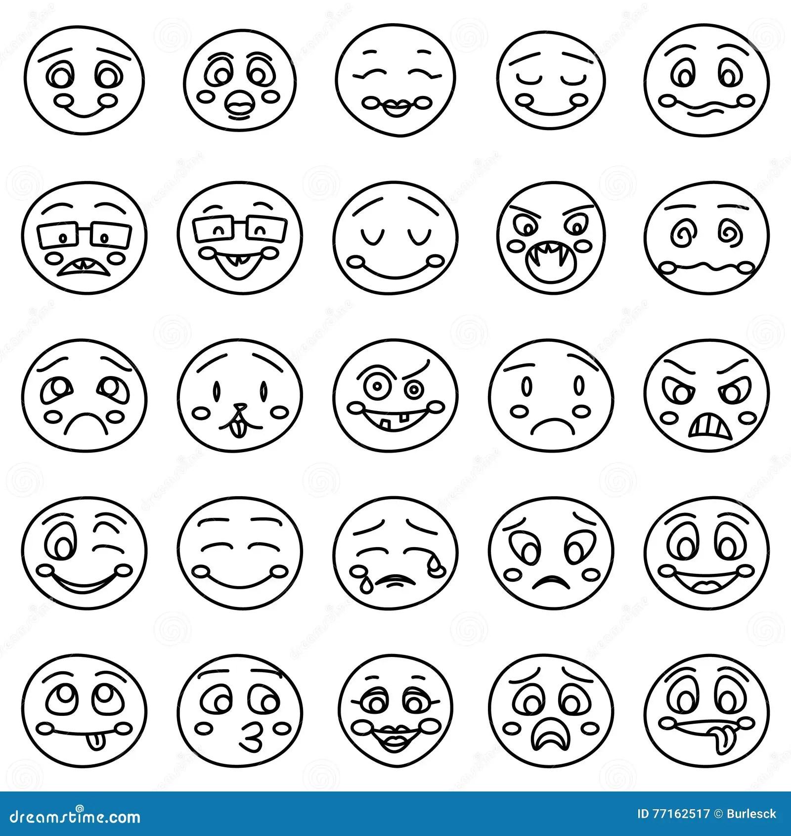 Desenho Da Mao Dos Emoticons Ou Das Caras Emocionais Da