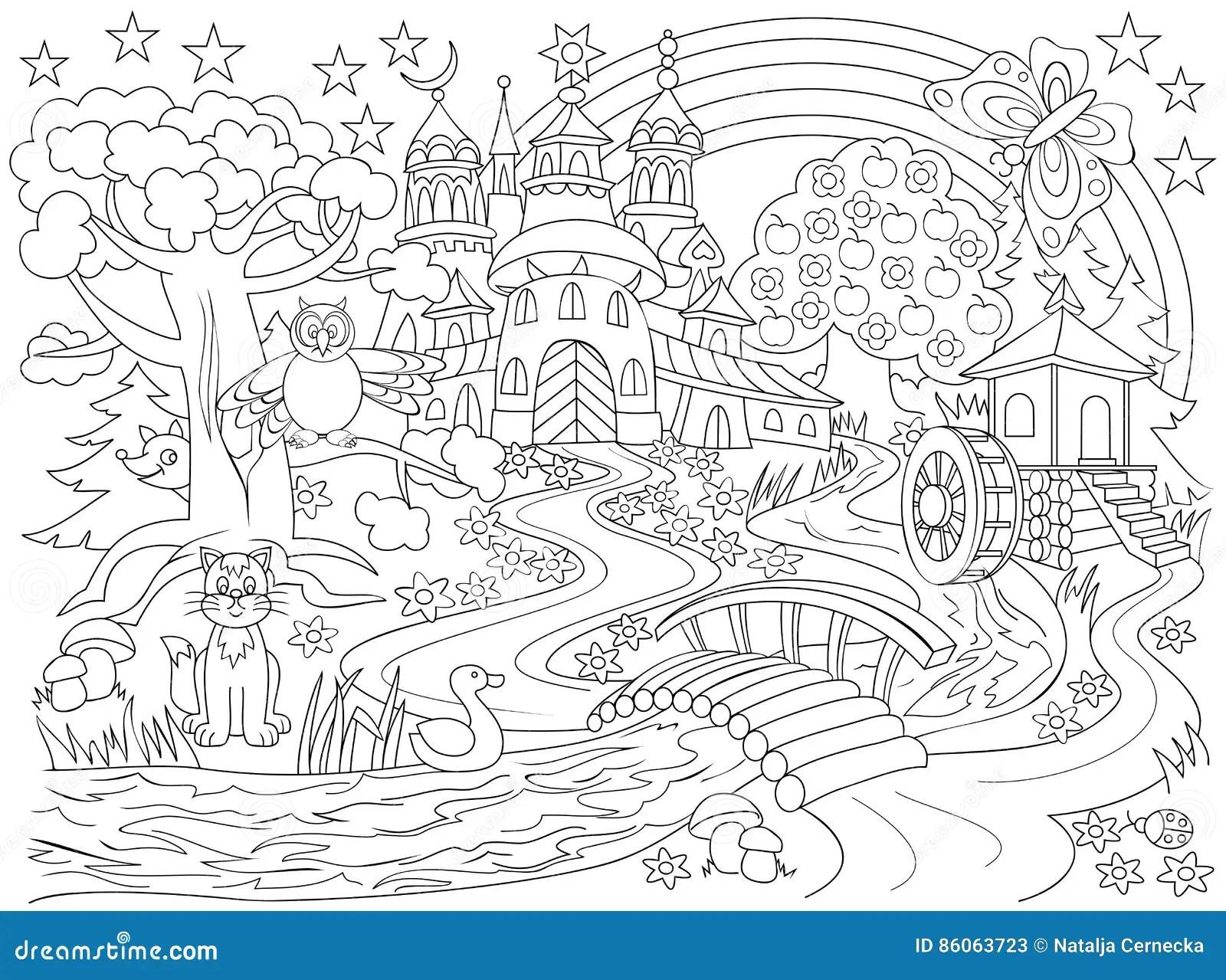 Desenho Preto E Branco Do Pais Do Mundo Das Fadas Castelo Me Val Na Floresta Magica Para