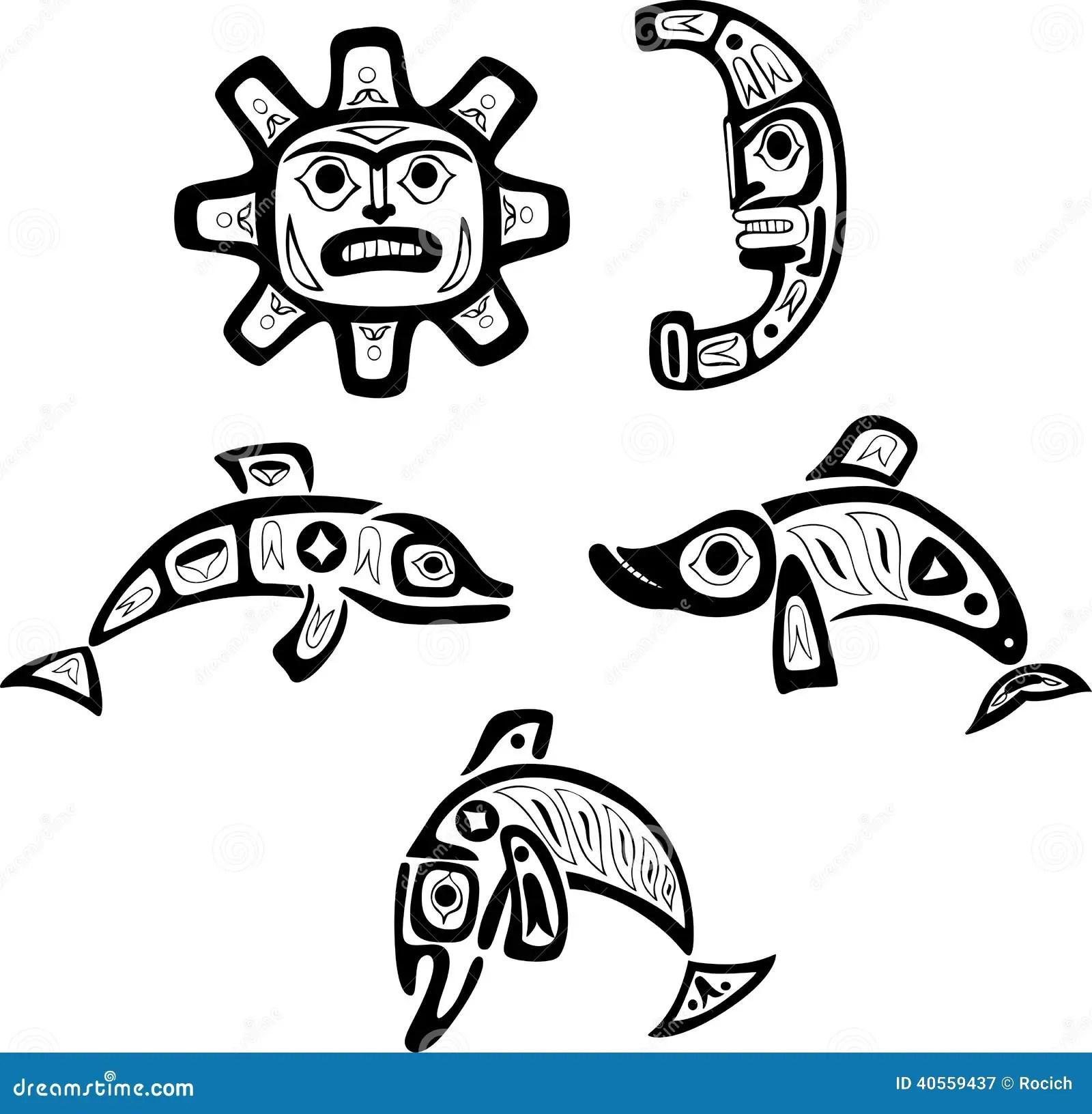 Desenhos Tribais Do Shoshone Nativo Peixes Sol Lua