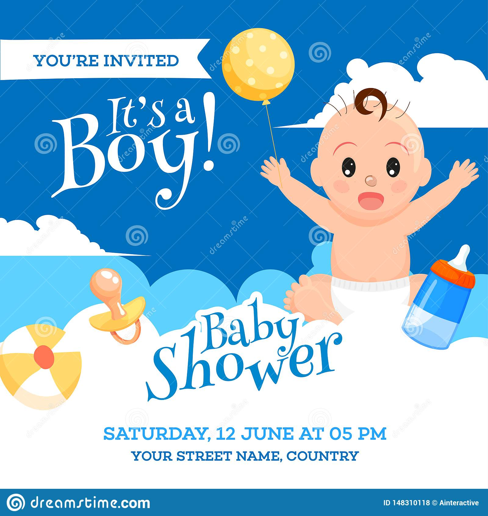 baby shower invitation card design with