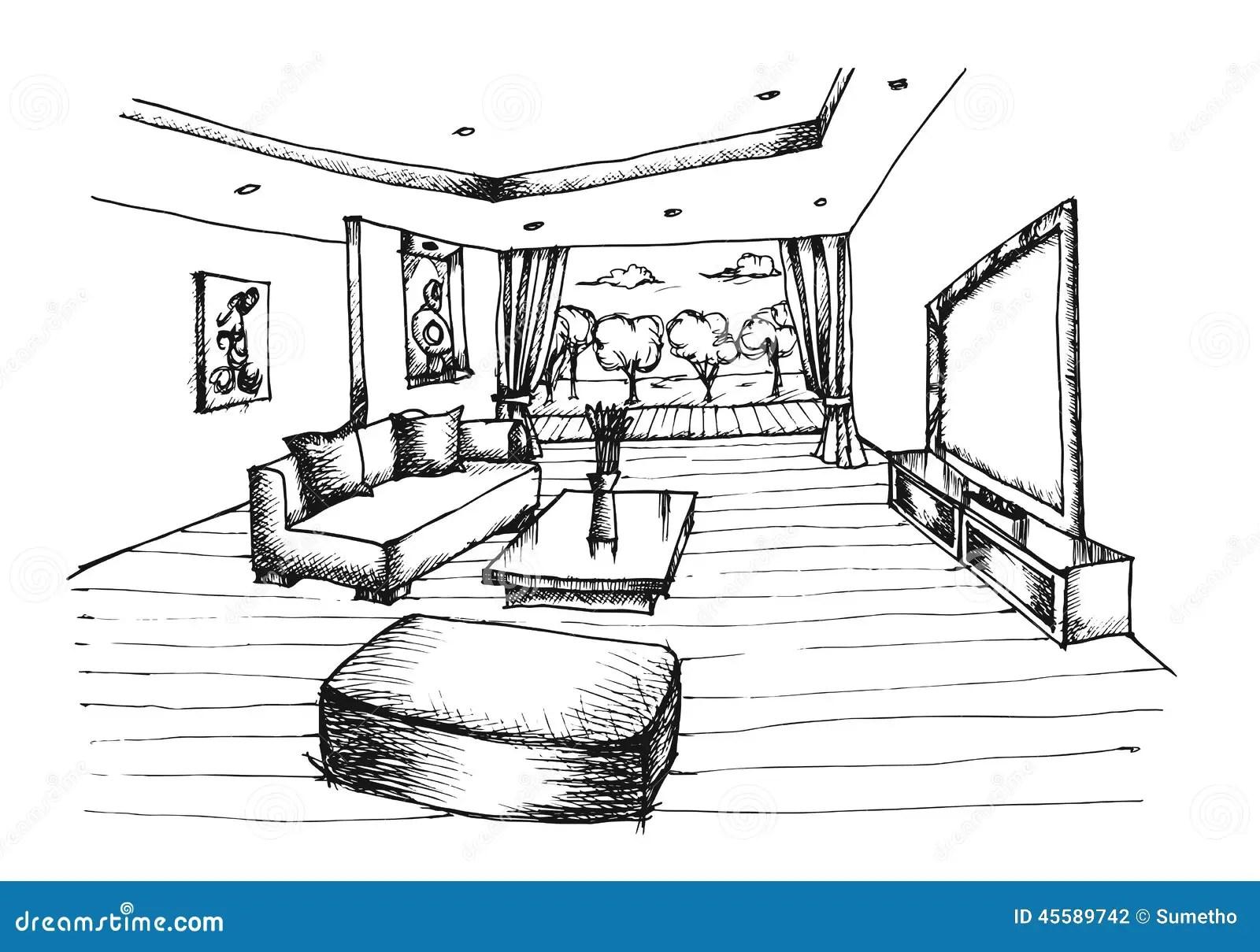 Design De Interiores Do Desenho Da Mao Para A Sala De Visitas Ilustracao Do Vetor