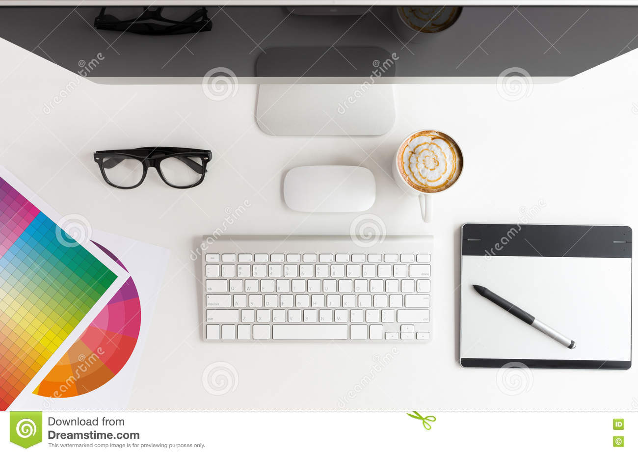Best Kitchen Gallery: Designer Workspace White Table On Top Stock Photo Image Of Above of Graphic Design Workspace  on rachelxblog.com