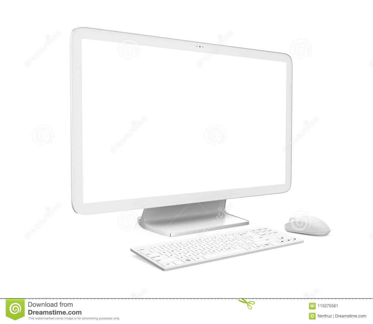Desktop Computer With A Blank White Screen Monitor