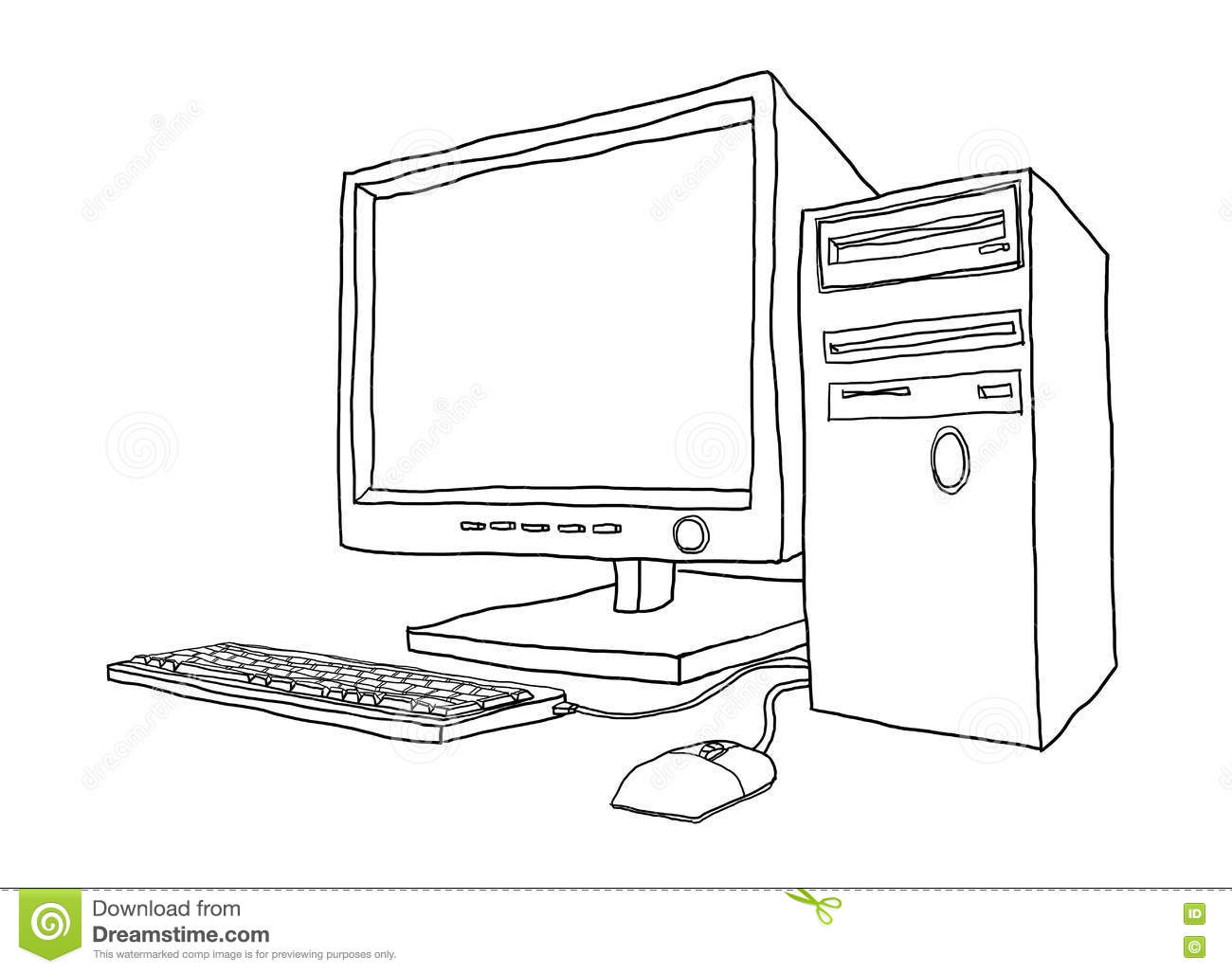 Desktop Computer Hand Drawn Line Art Painting Cute