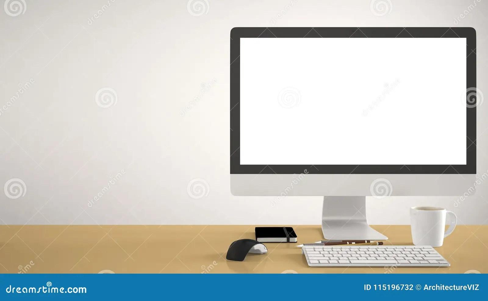 Desktop Mockup Template Computer On Yellow Pantone
