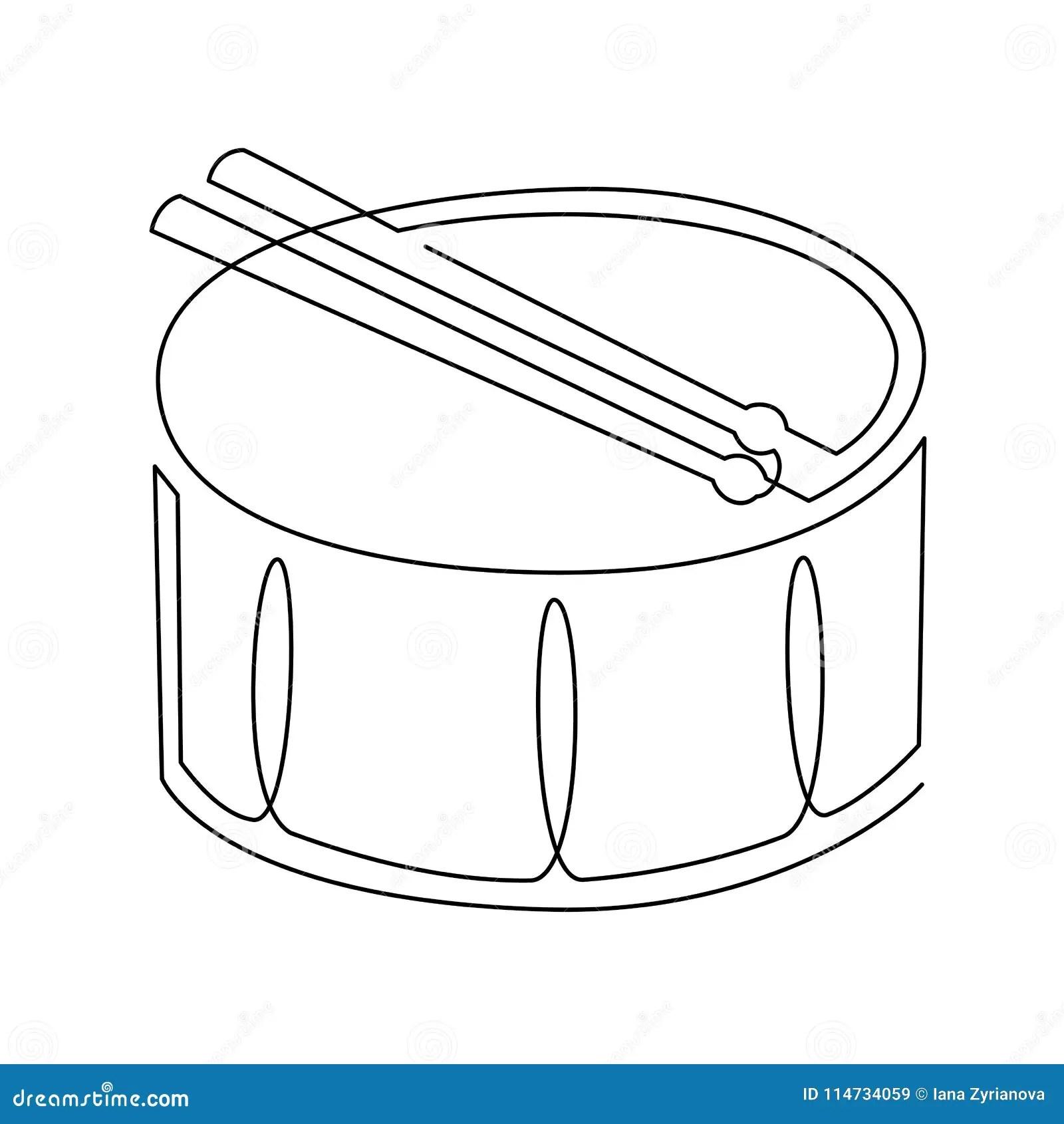 Dessin Au Trait Continu D Icone De Vecteur De Tambour De Piege Ligne Simple D Instrument De