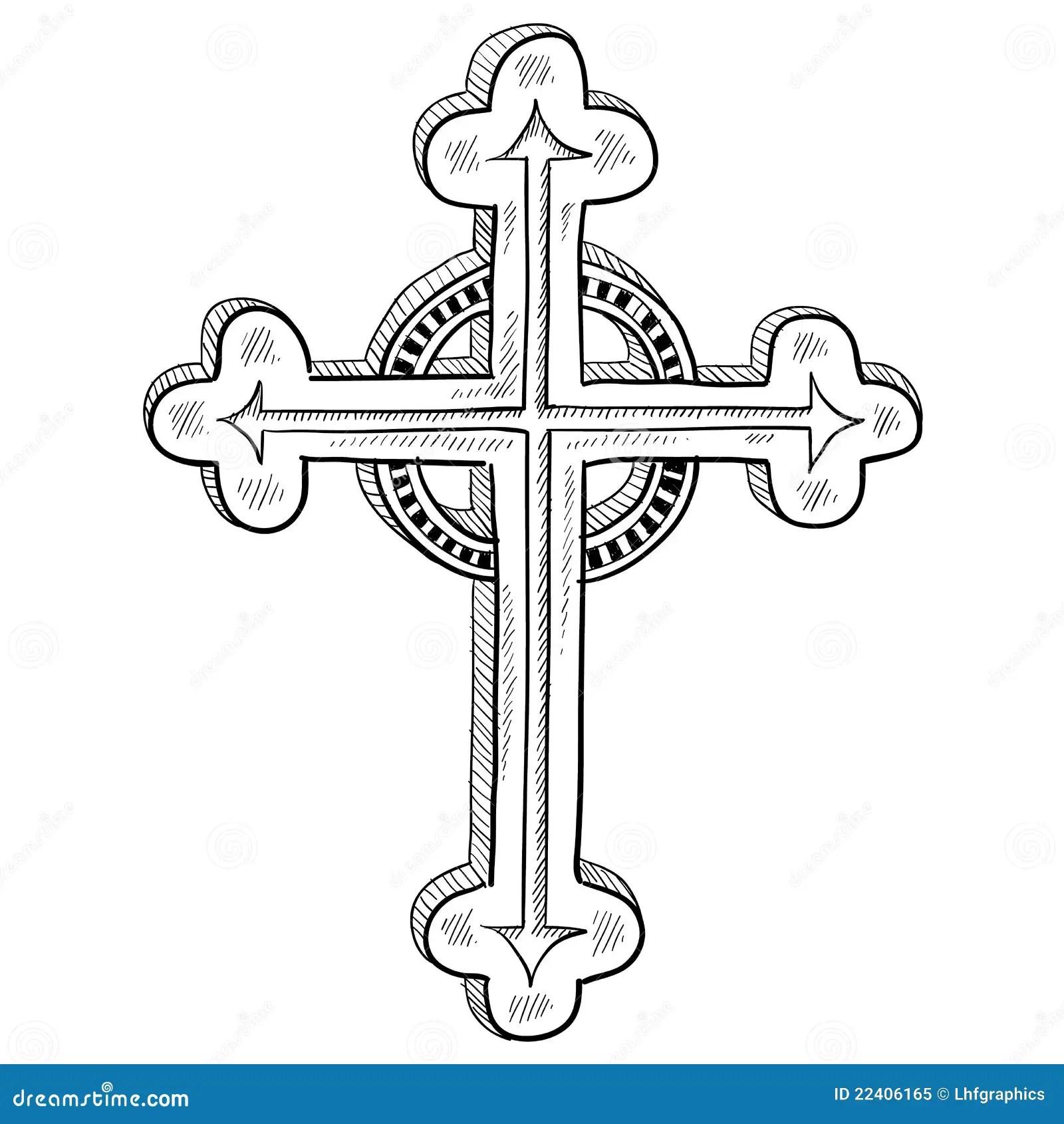 Det Ortodoxa Korset Skissar Royaltyfri Foto