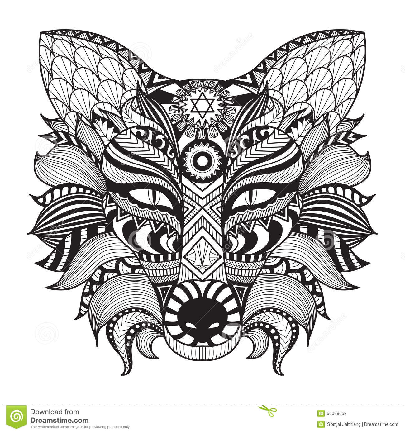 Detail Zentangle Fox Isolated On White Background Stock