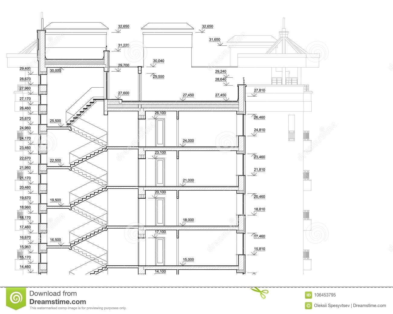 Detailed Architectural Plan Of Multistory Building Cross
