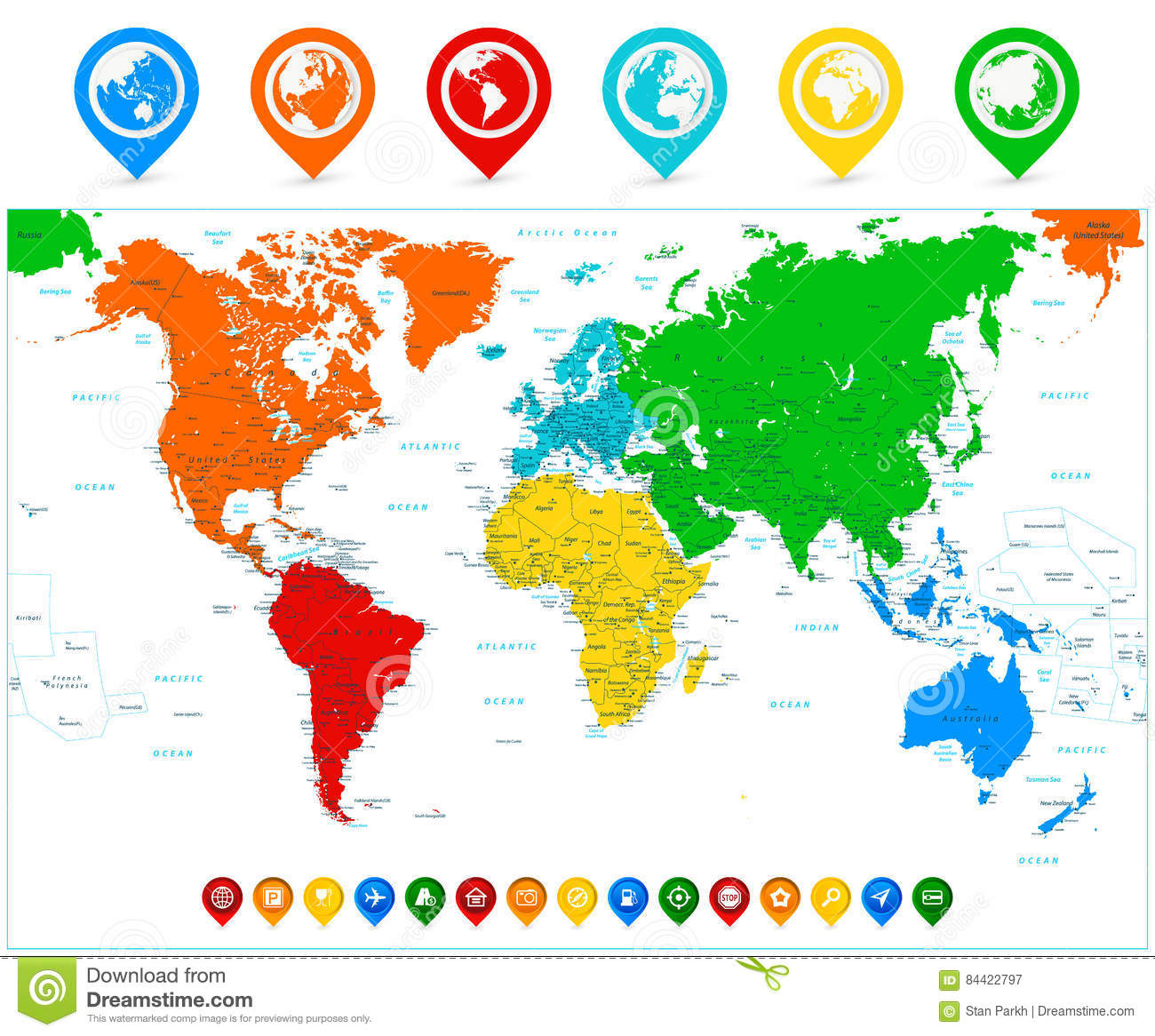 Detailed Vector World Map With Colorful Continents And Map
