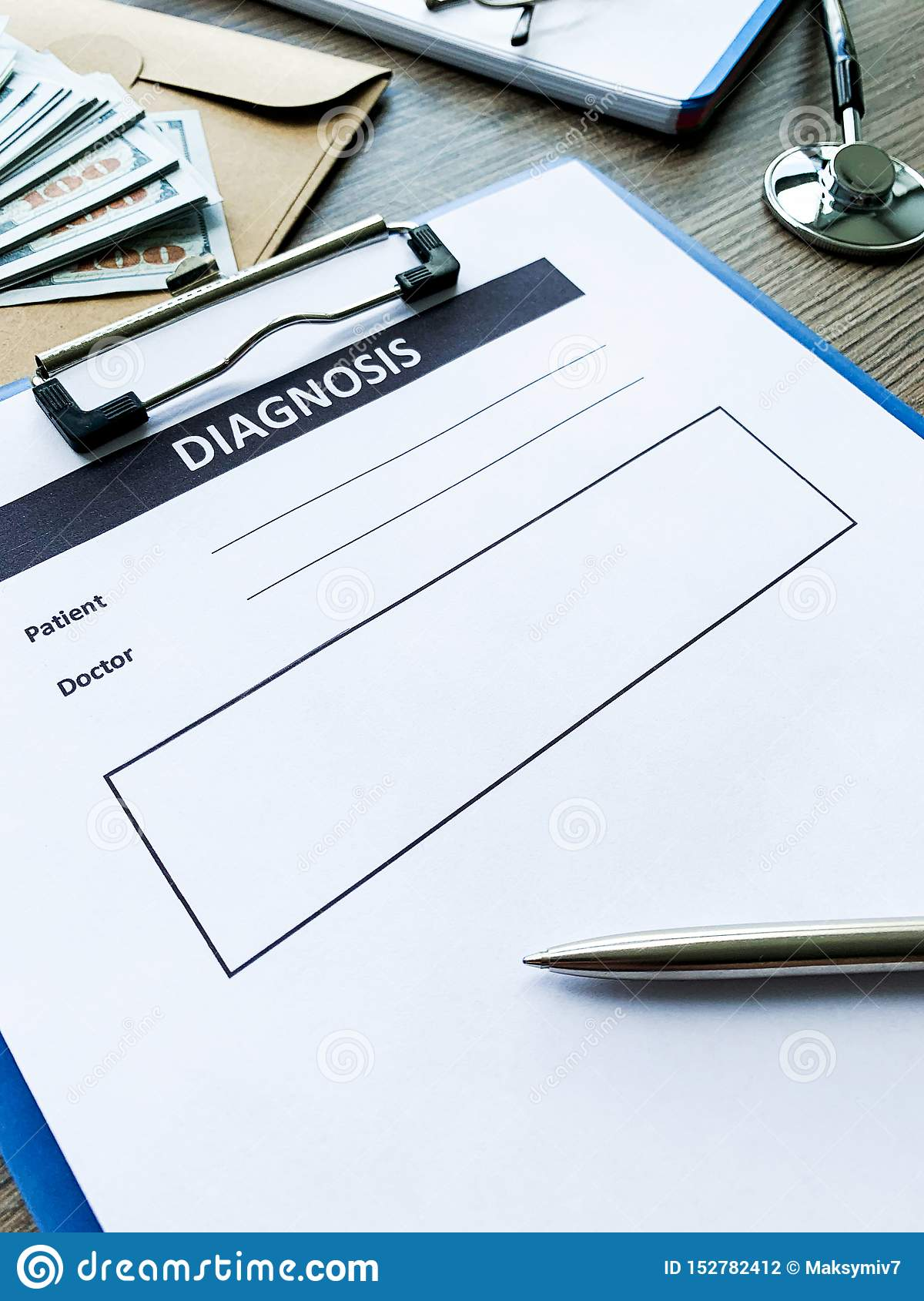 Diagnosis Form With The Patient S Data On The Doctors Desk
