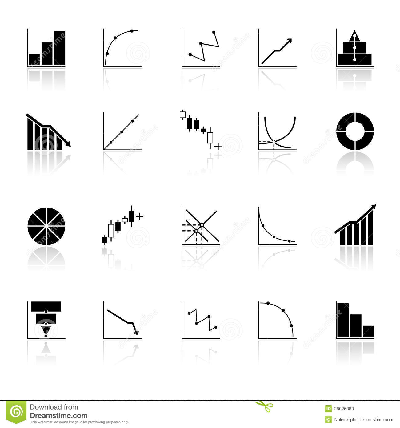 Diagram And Graph Icons With Reflect On White Back Stock