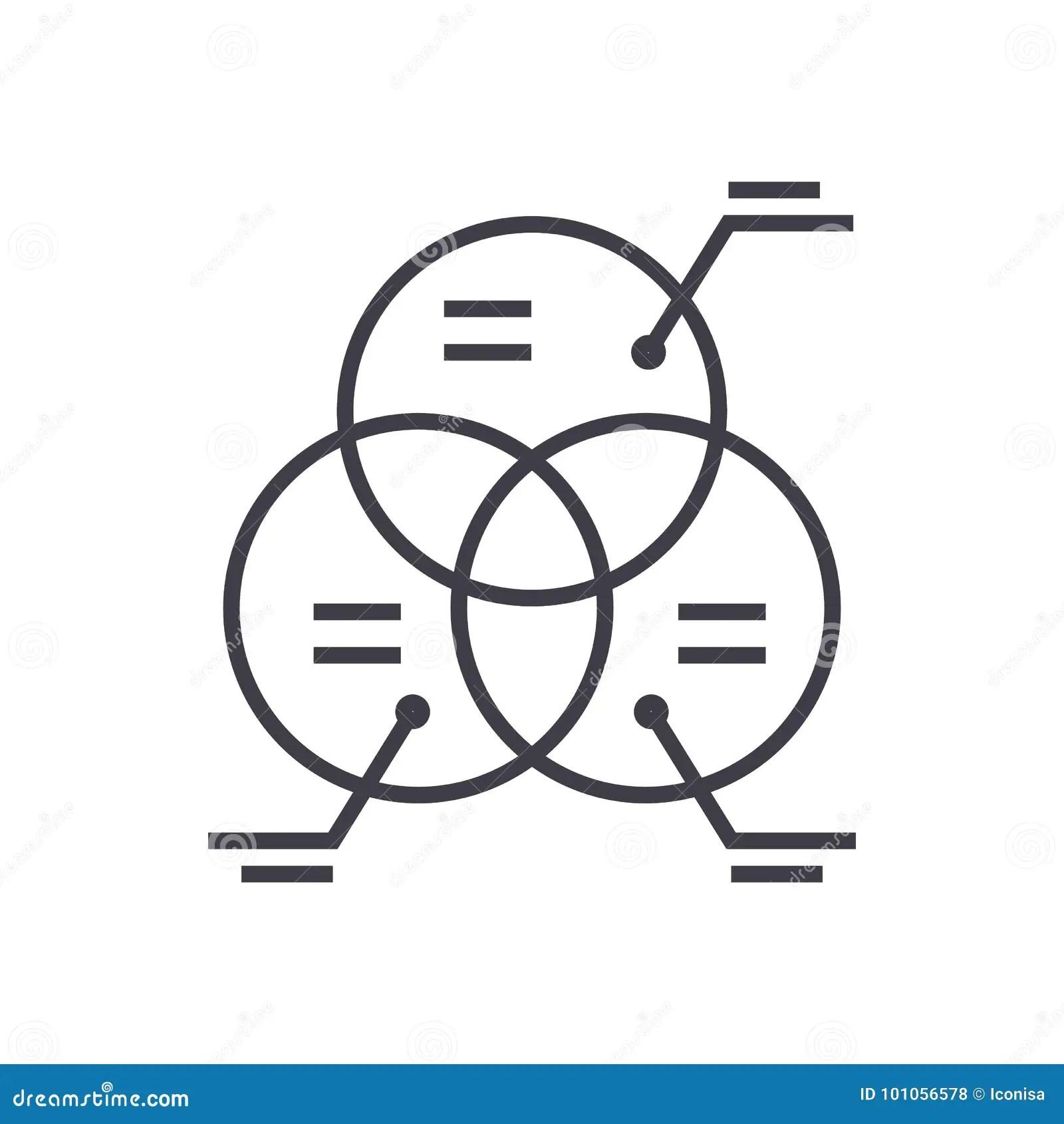 Diagram Marketing Circle Parts Vector Line Icon Sign