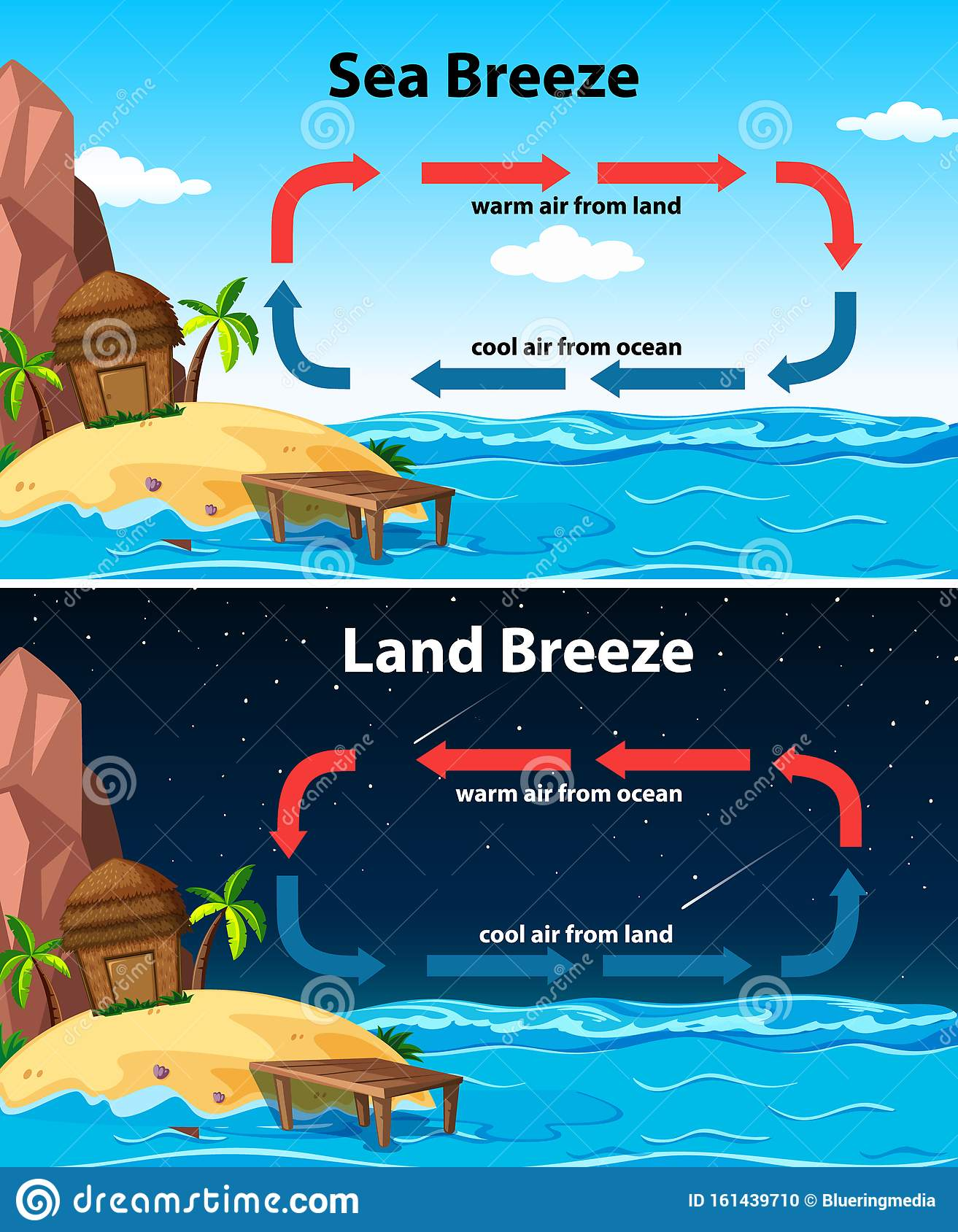 Diagram Showing Sea And Land Breeze Stock Vector