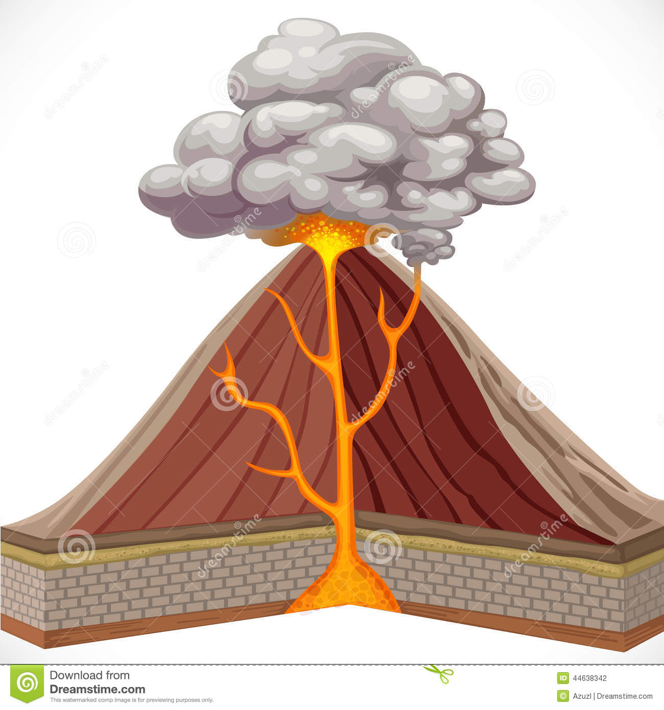 Diagram Of Volcano Stock Vector