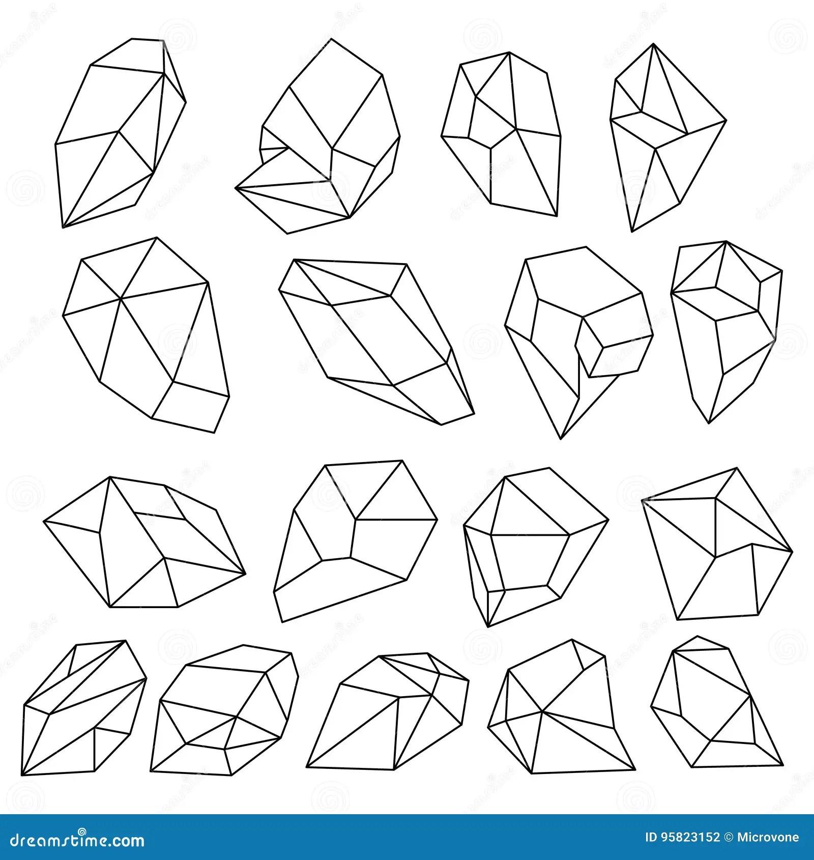 Diamond 3d Shapes Natural Crystals Outline Gem Stones