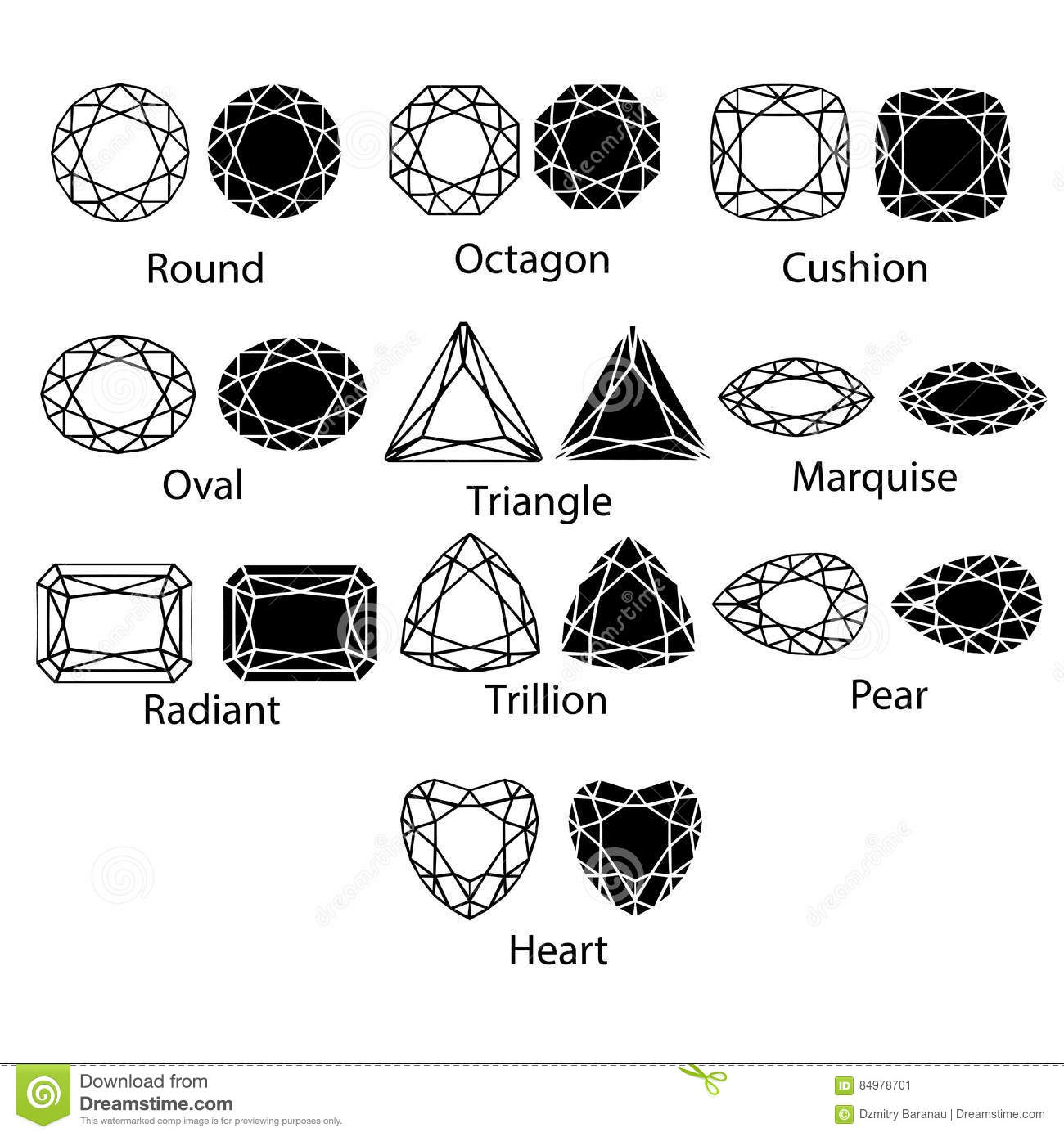 Diamond Gem Stone Jewel Icons Shape Set Isolated Vector