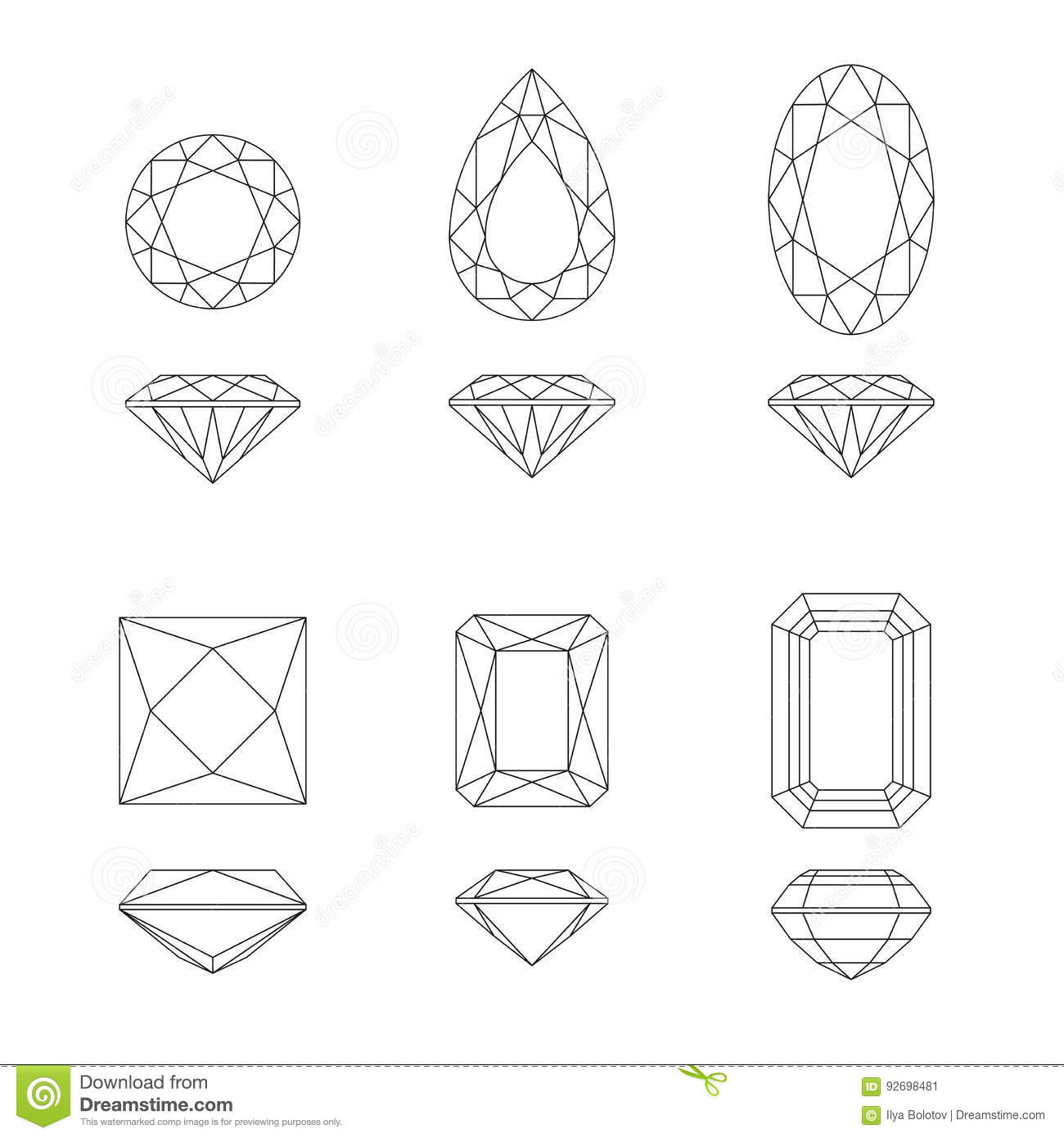Diamond And Gemstone Shapes Stock Vector