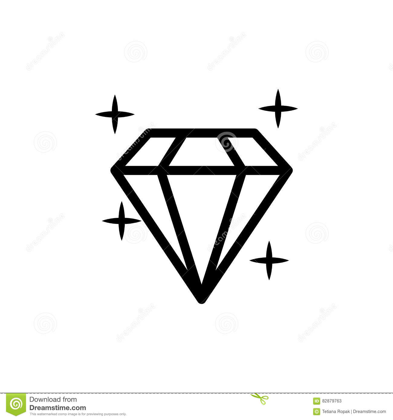 Diamond Icon Vector Illustration Shiny Crystal Sign