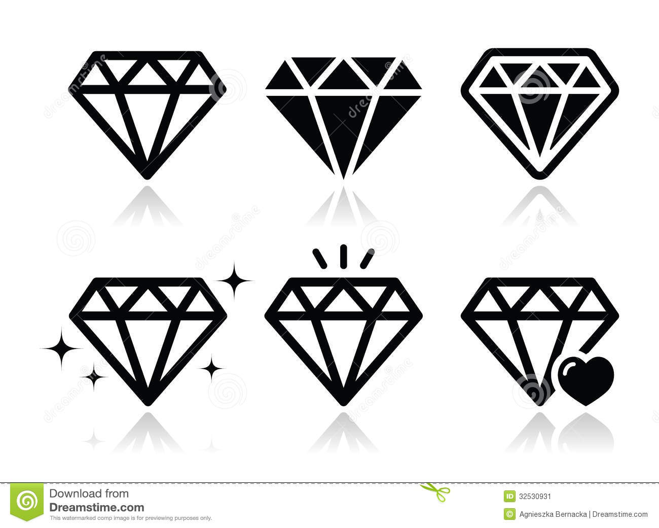 Diamond Icons Set Stock Illustration Illustration Of