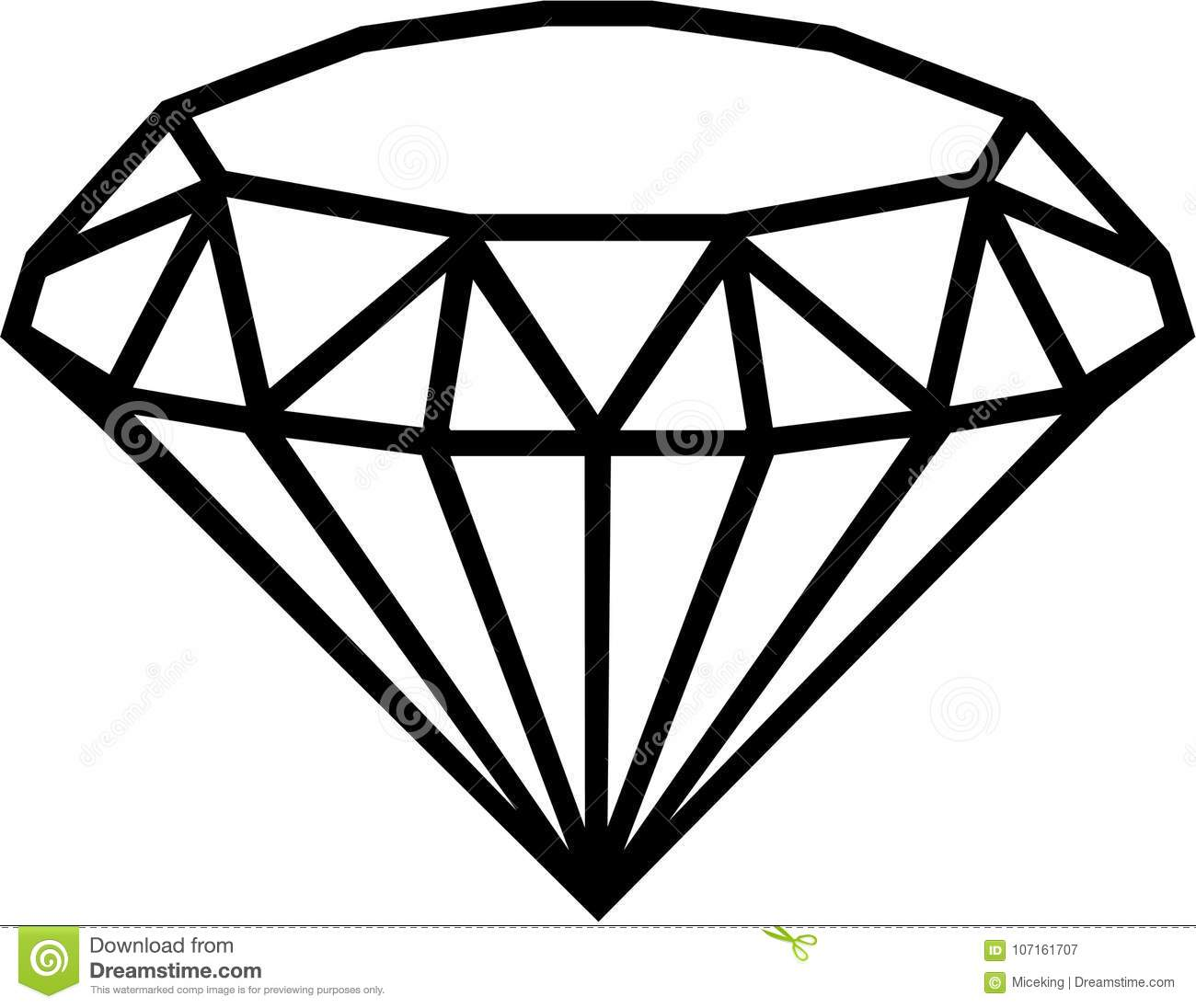 Diamond Outline Vector Stock Vector Illustration Of