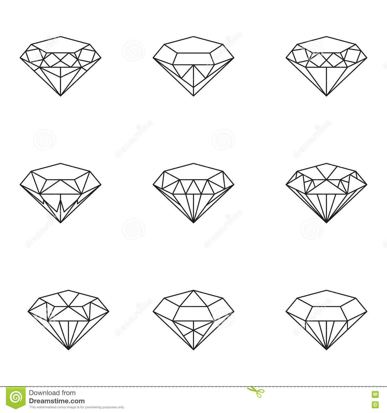 Diamonds Icon Set Stock Vector Illustration Of Image