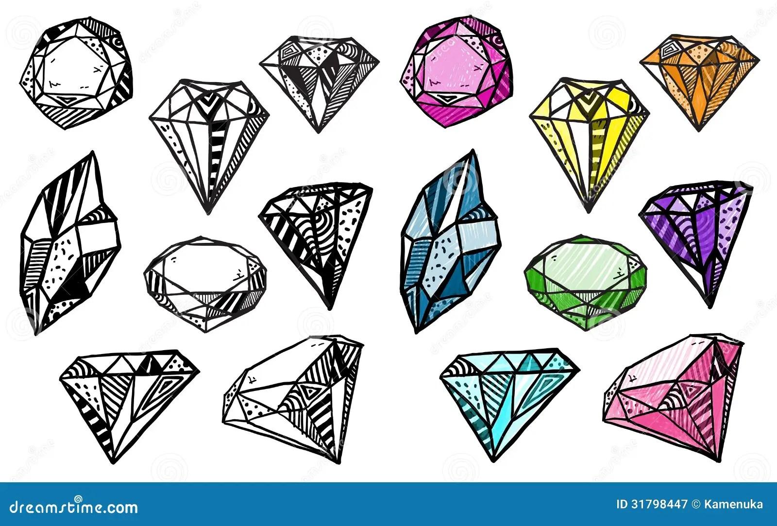 Diamonds Set Of Doodle Crystals Stock Vector Image