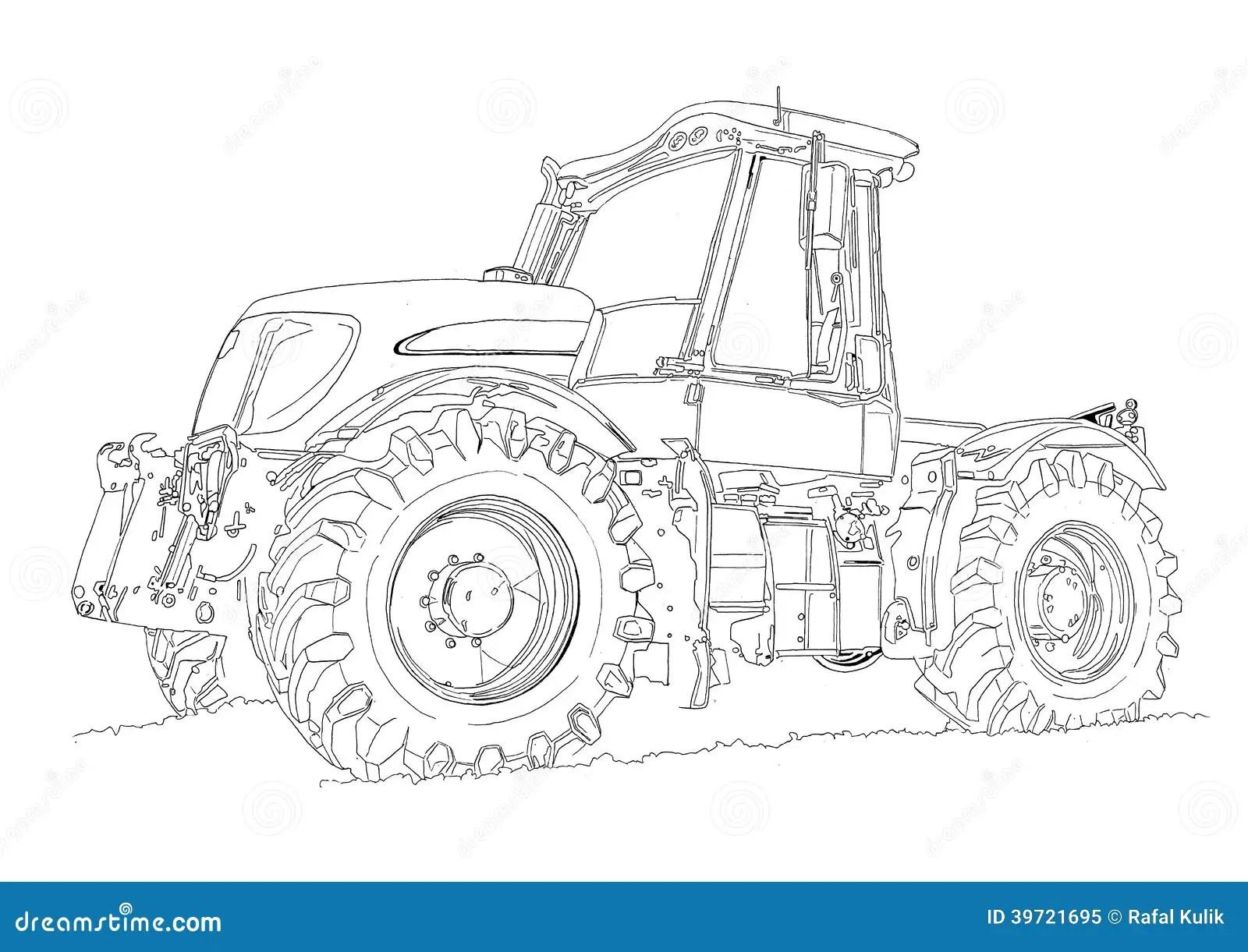 Dibujo Del Arte Del Ejemplo Del Tractor Agricola Stock De