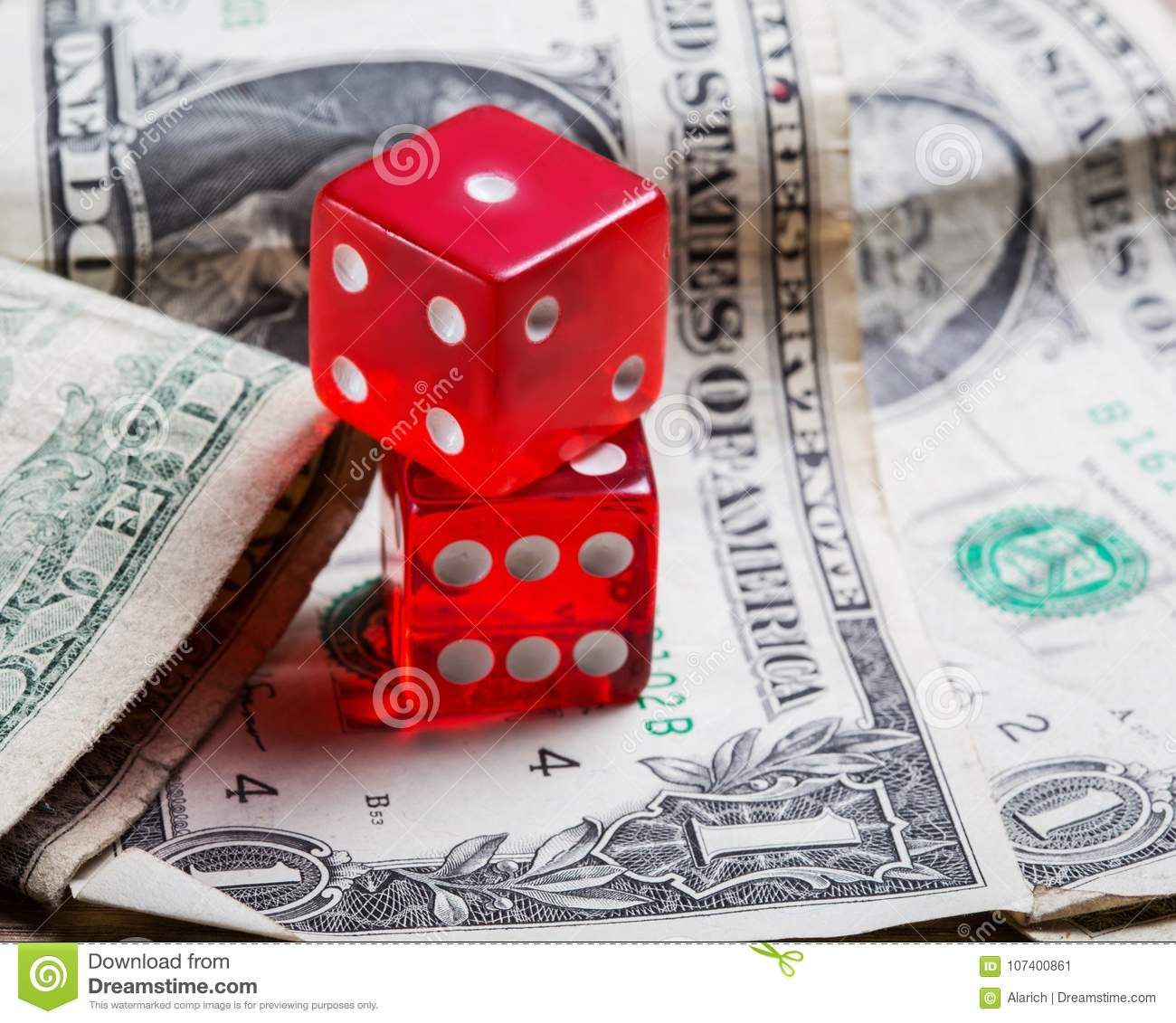 Dice And Old Dollars Close Up Game Stock Image