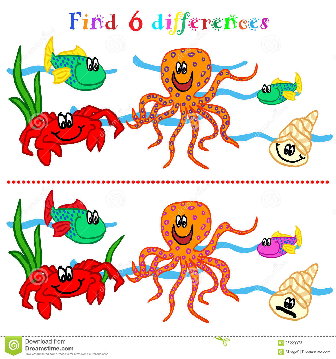 Difference Game With Marine Life Stock Photos
