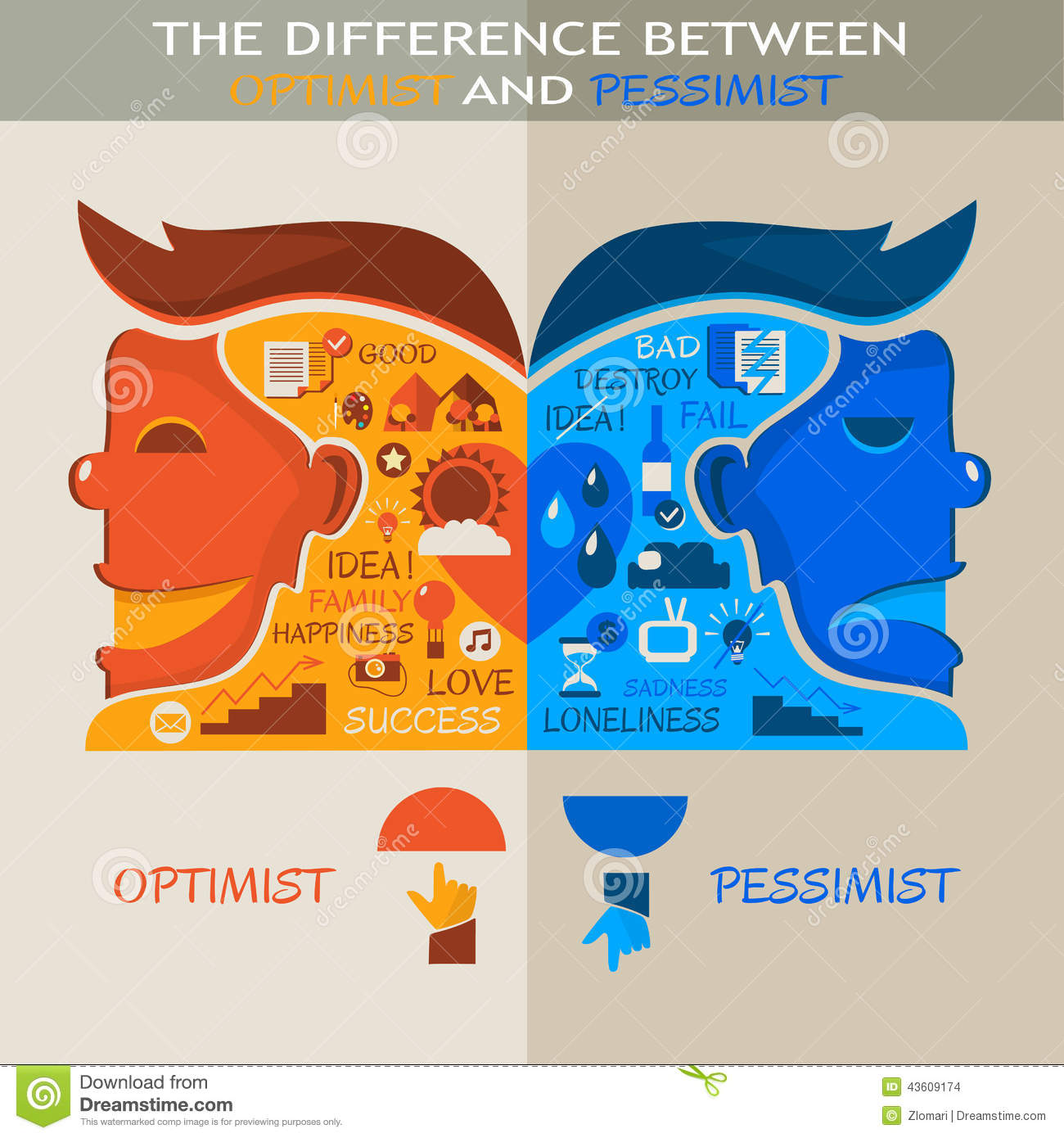 The Difference Between Optimist And Pessimist Stock Vector