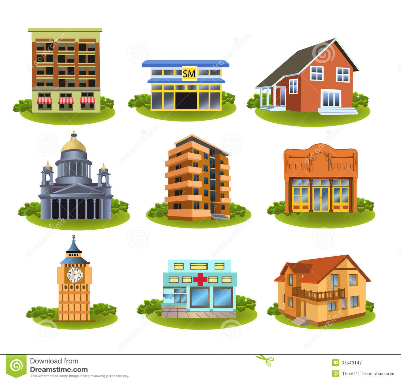 Different Buildings And Places Stock Vector