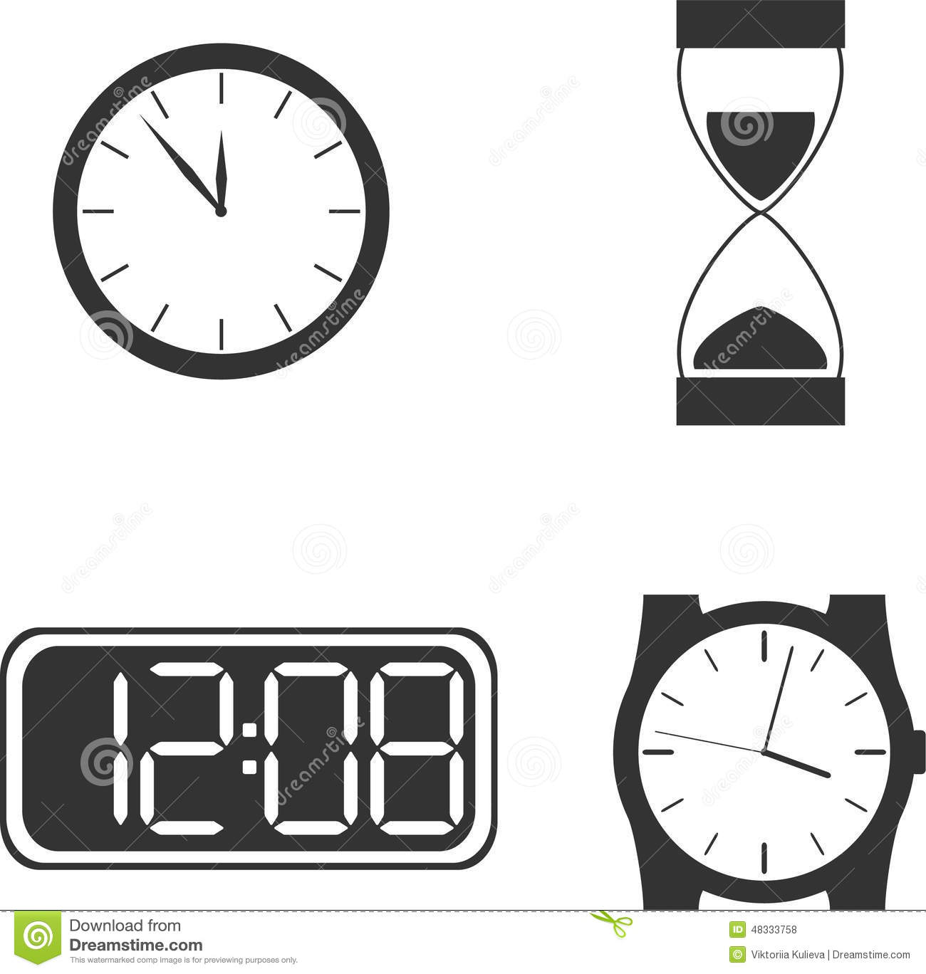 Different Clock Types Stock Vector Illustration Of Types