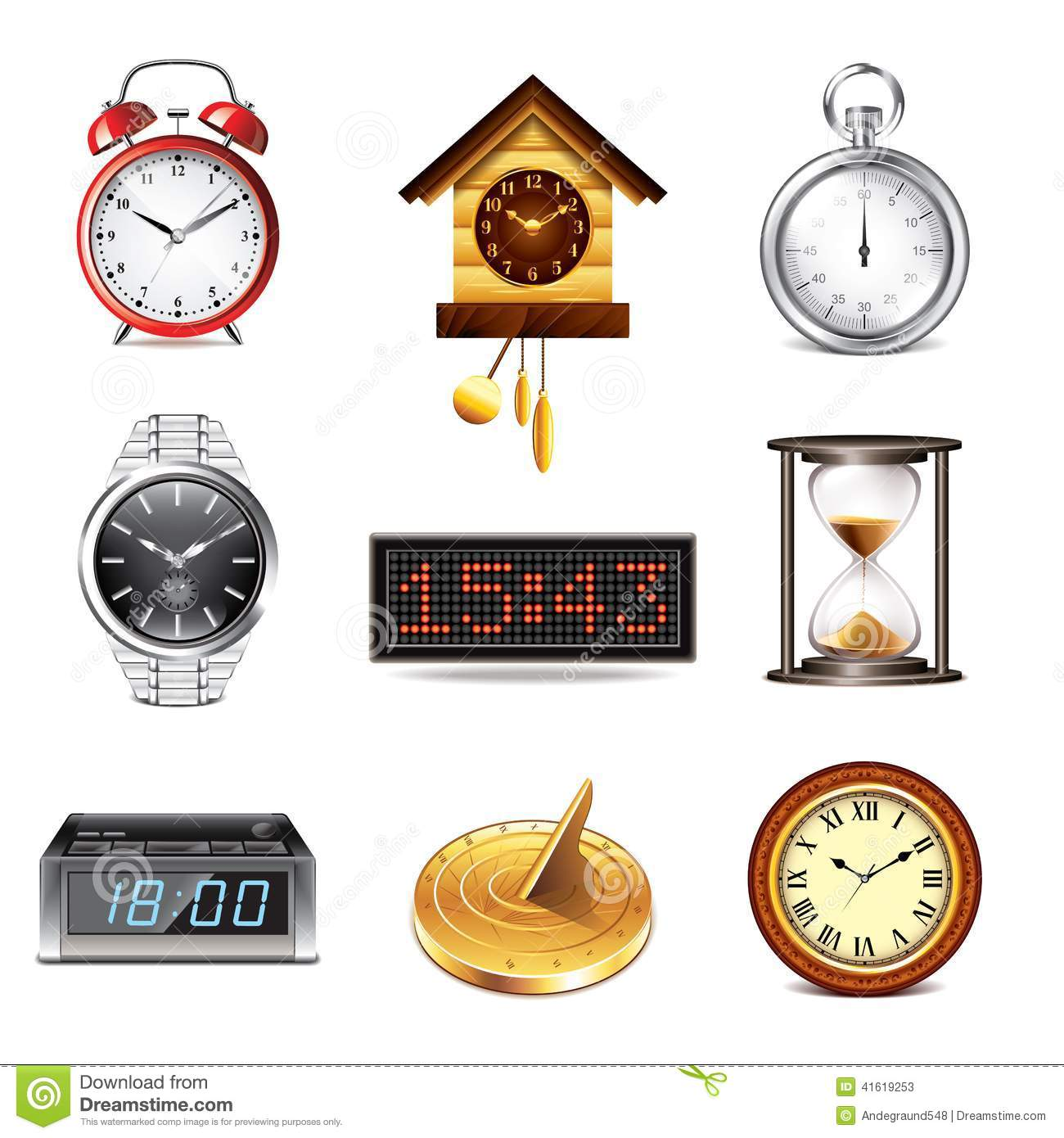 Different Clocks Icons Vector Set Stock Vector