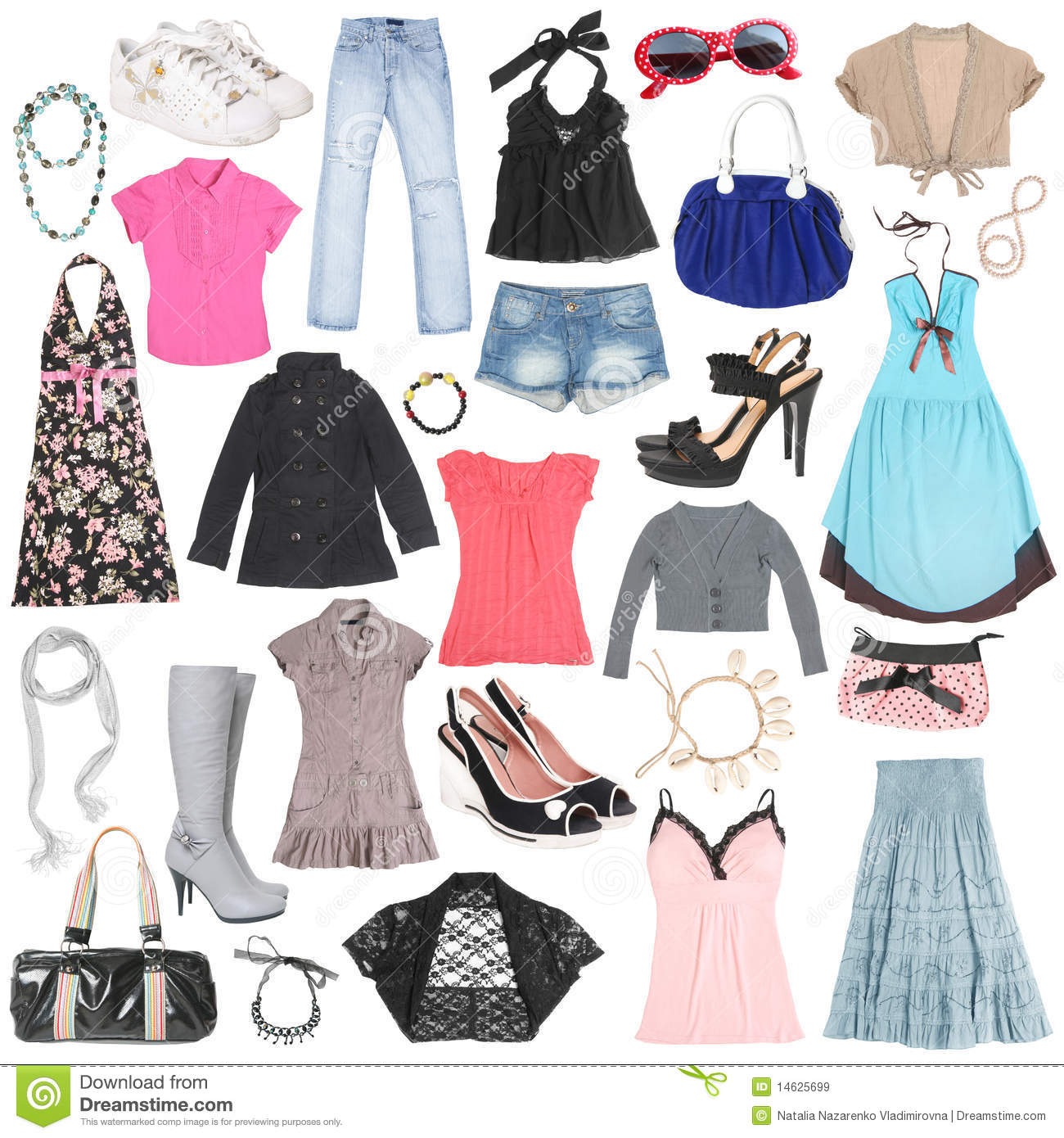 Different Female Clothes Shoes And Accessories Stock